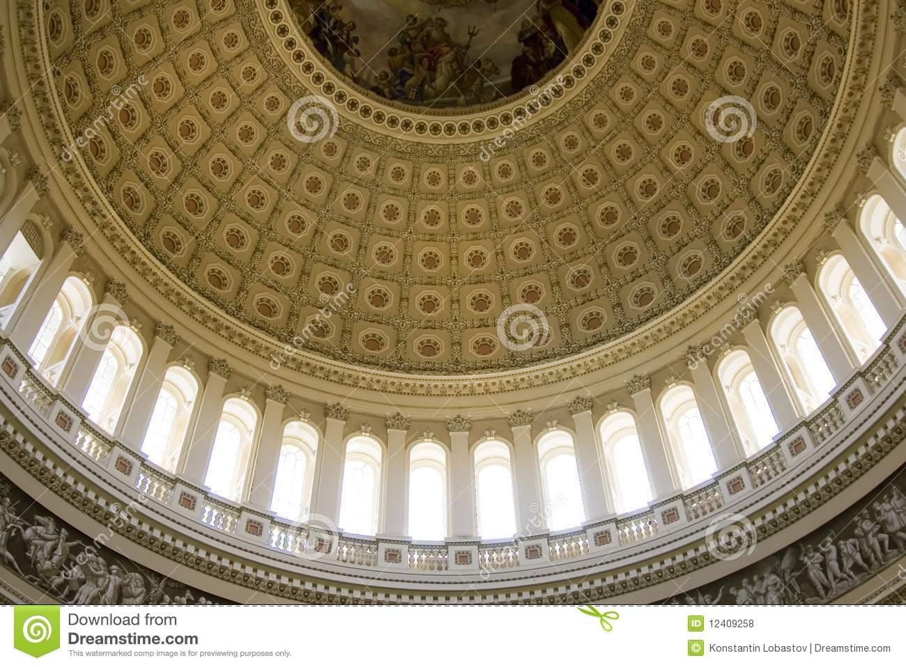Inside View On The Rotunda Ceiling Of Us Capitol Royalty