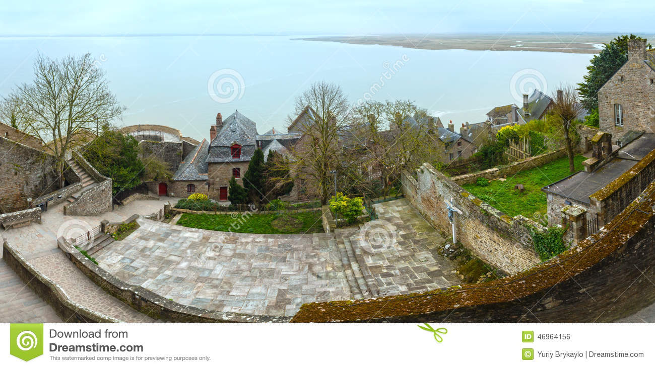 Inside The Walls Of Mont Saint-Michel (France). Spring Panorama ...