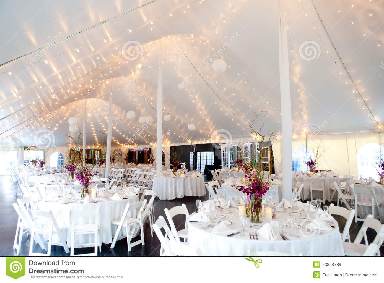 White Chairs At A Wedding Indoor Stock Photo: Inside A Wedding Tent Royalty Free Stock Images