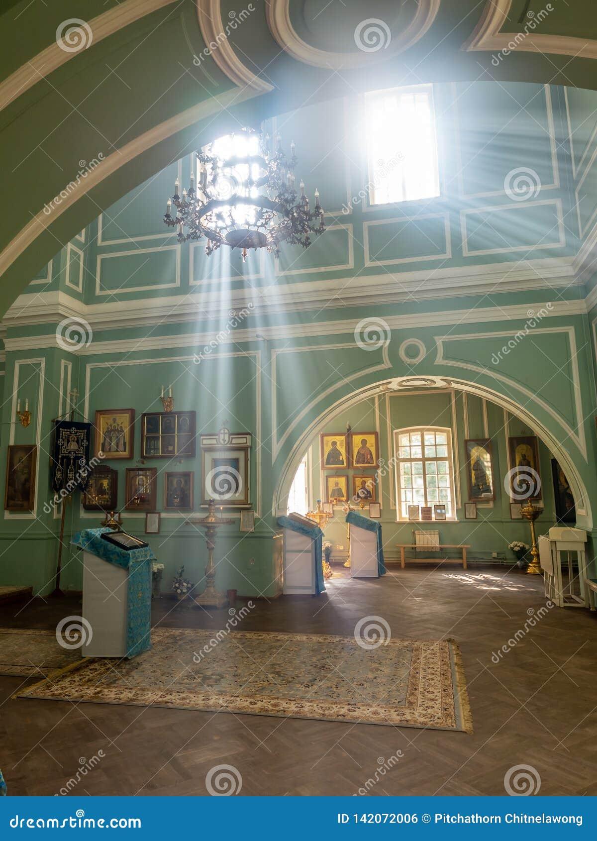 Inside of Znamenskaya church in Catherine palace, Russia