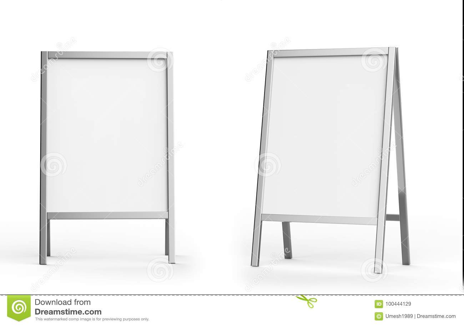 Insieme all aperto metallico bianco in bianco del modello del supporto di pubblicità, rappresentazione 3d Chiara derisione del bo