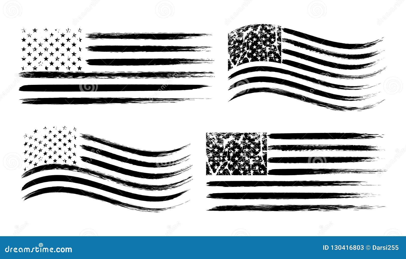 Insieme americano della bandiera di lerciume di U.S.A., nero isolato su fondo bianco, illustrazione di vettore