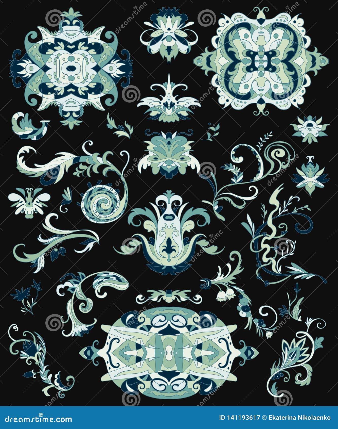 Insieme arabo degli ornamenti Elementi islamici tradizionali per tessuto, stampe, carta da imballaggio, carta, invito, carta da p
