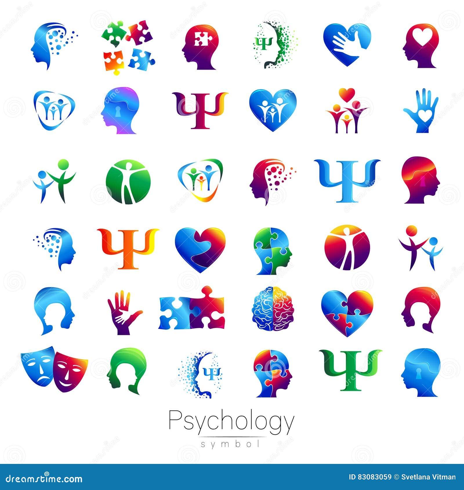 Insieme capo moderno del segno di psicologia Essere umano di profilo Stile creativo Simbolo nel vettore Concetto di progetto Soci