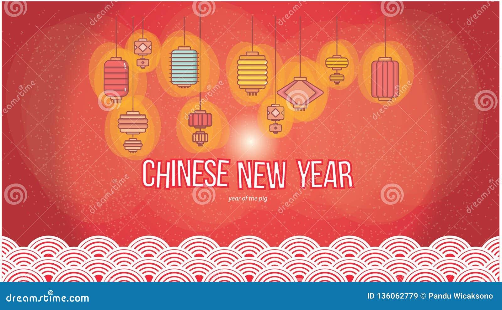 Insieme cinese della lanterna per la carta da parati 2019 del nuovo anno nel fondo rosso