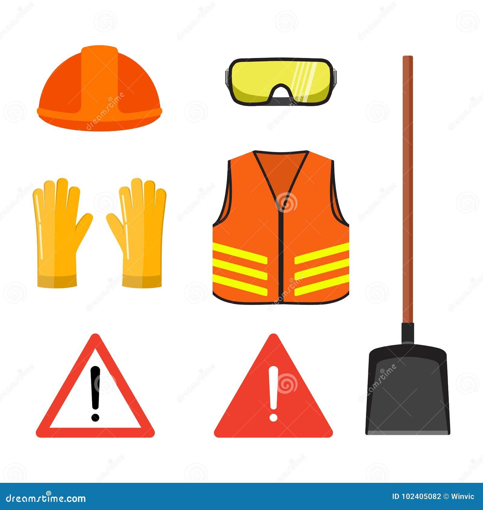 Insieme concettuale dei lavori stradali, isolato sul illustr piano bianco di vettore