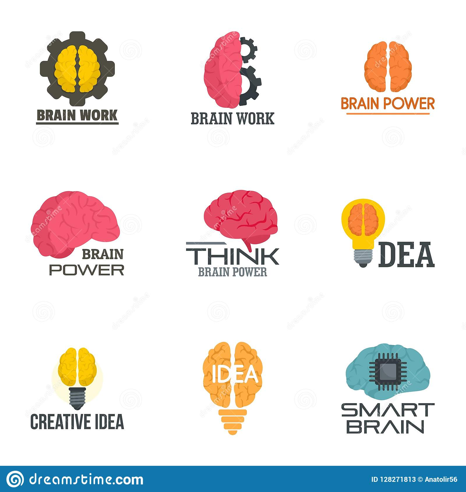 Insieme creativo di logo del cervello di idea, stile piano