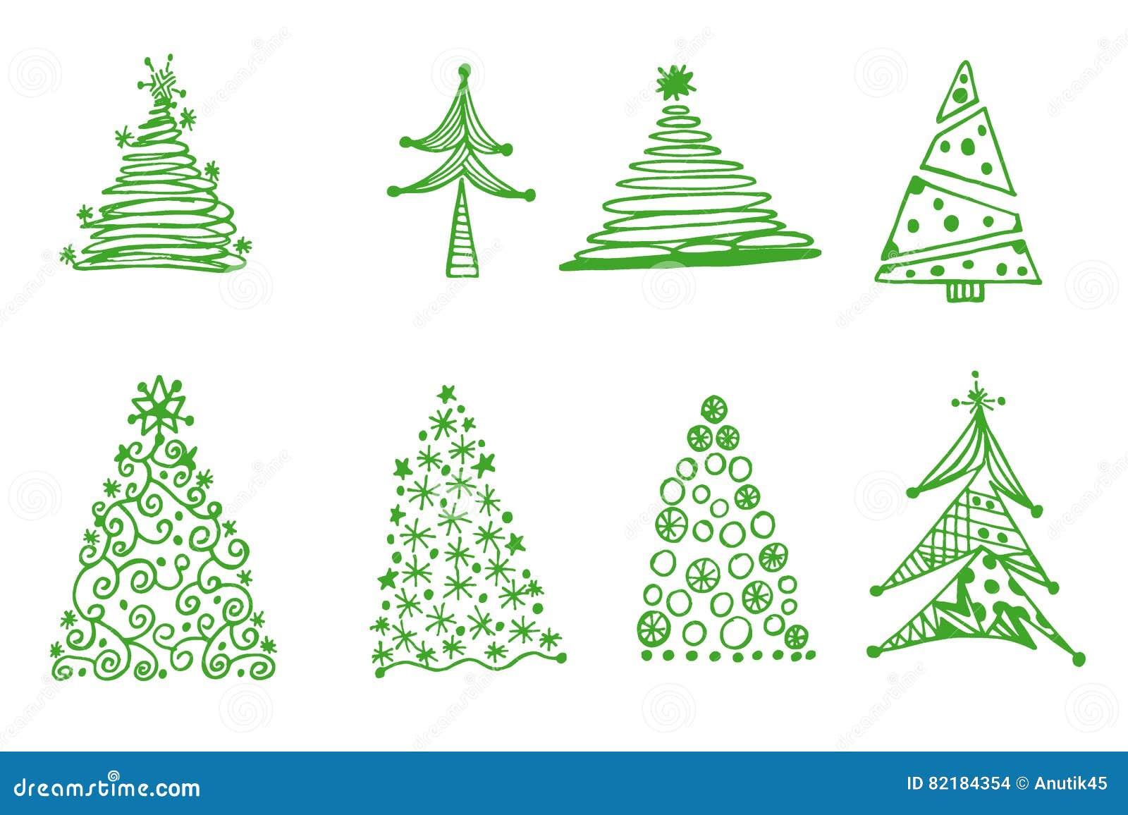 Disegni Di Natale Vettoriali.Insieme Degli Alberi Di Natale Disegni Della Mano