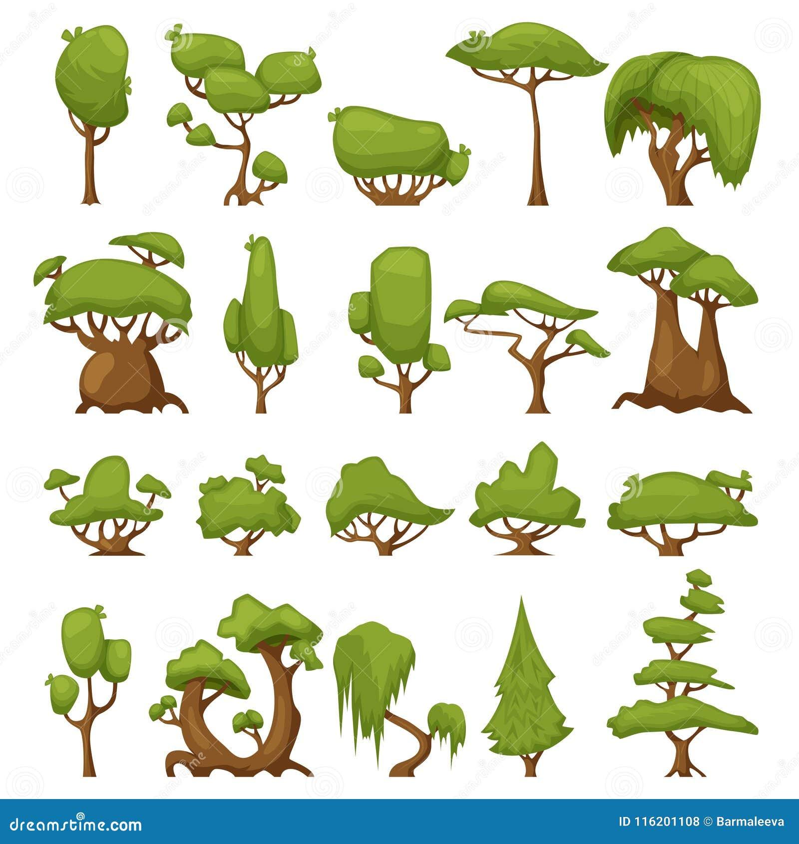 Immagini Di Piante E Alberi insieme degli alberi stilizzati astratti parco di vettore ed