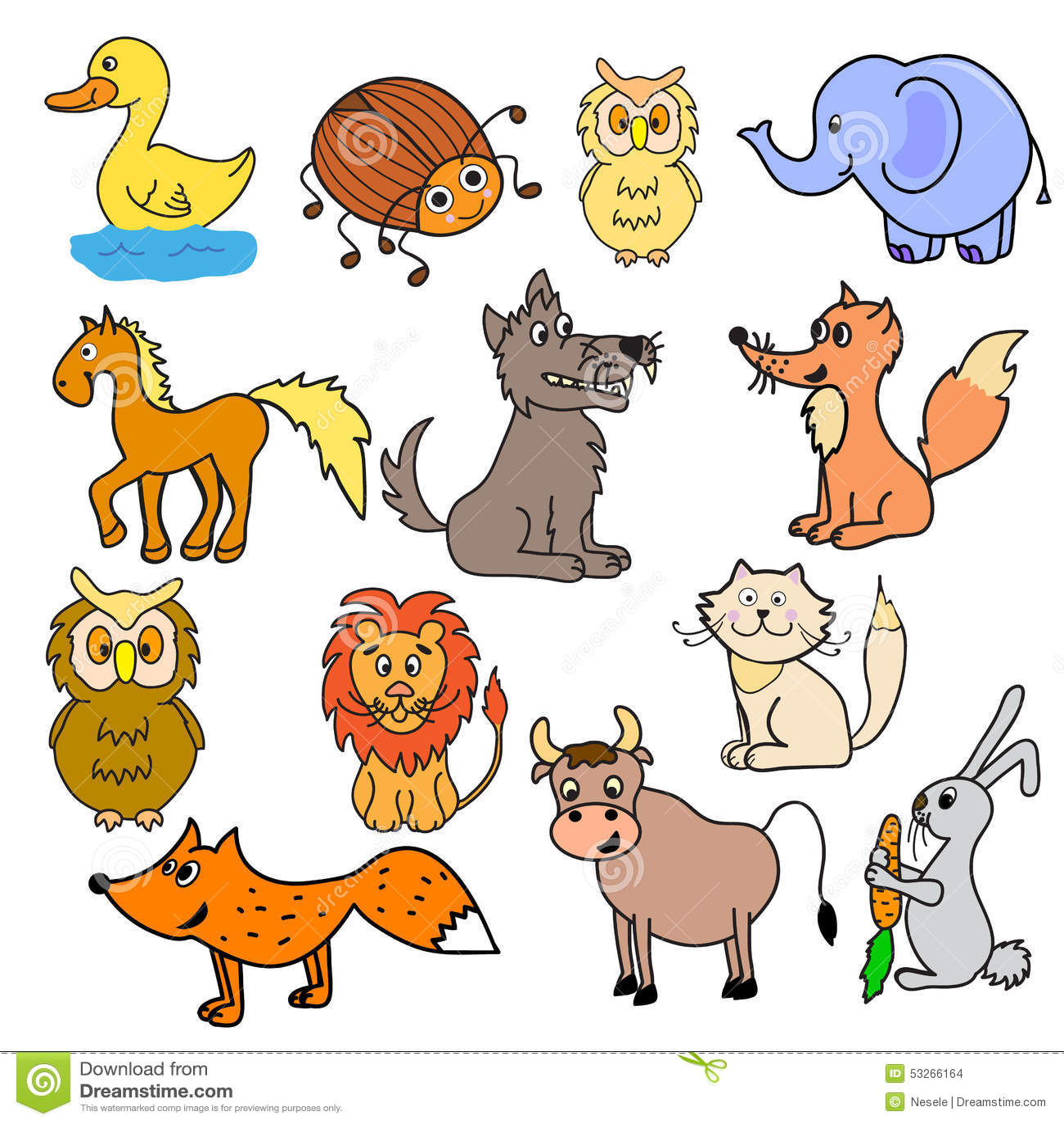 Insieme degli animali per i bambini illustrazione for Immagini giraffa per bambini
