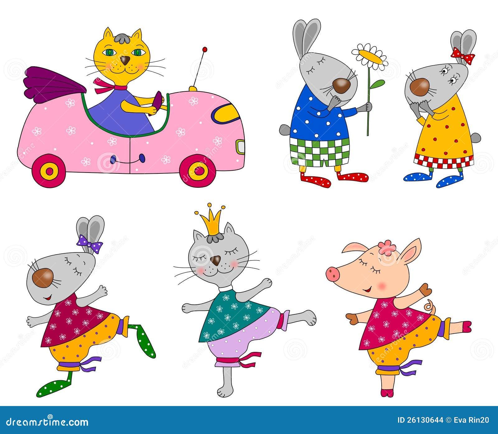 Insieme degli animali personaggi dei cartoni animati