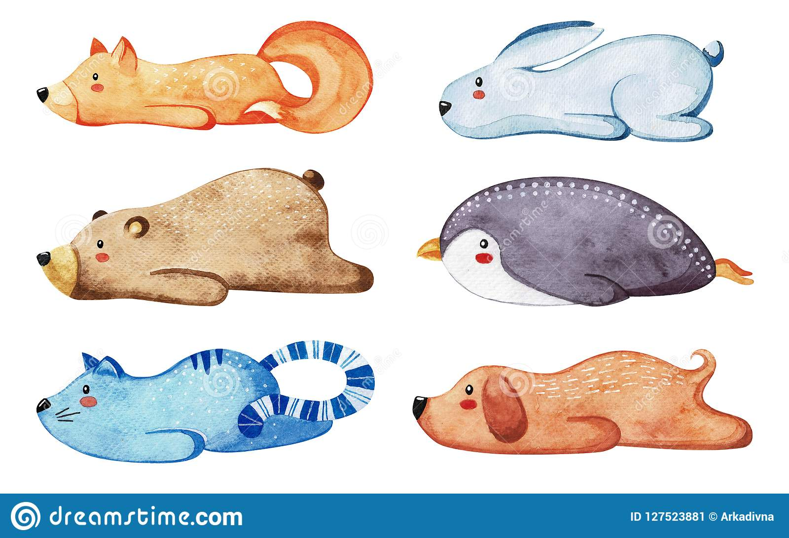 Insieme degli animali svegli differenti Animali pigri watercolor