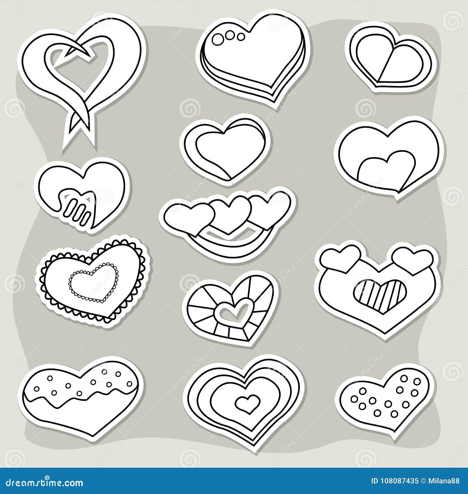 Insieme degli autoadesivi in bianco e nero dei cuori Elementi di giorno del ` s del biglietto di S. Valentino