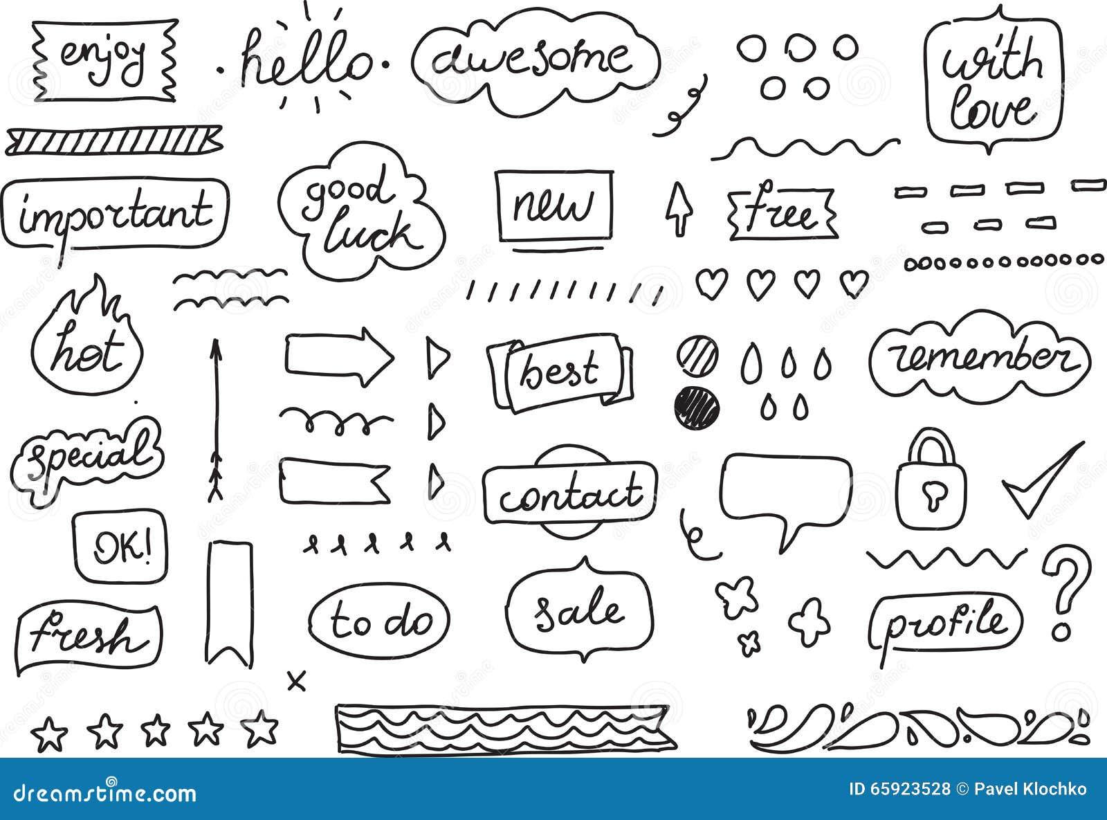 Insieme degli autoadesivi, etichette, etichette Elementi disegnati a mano di progettazione per il vostro pianificatore, organizza
