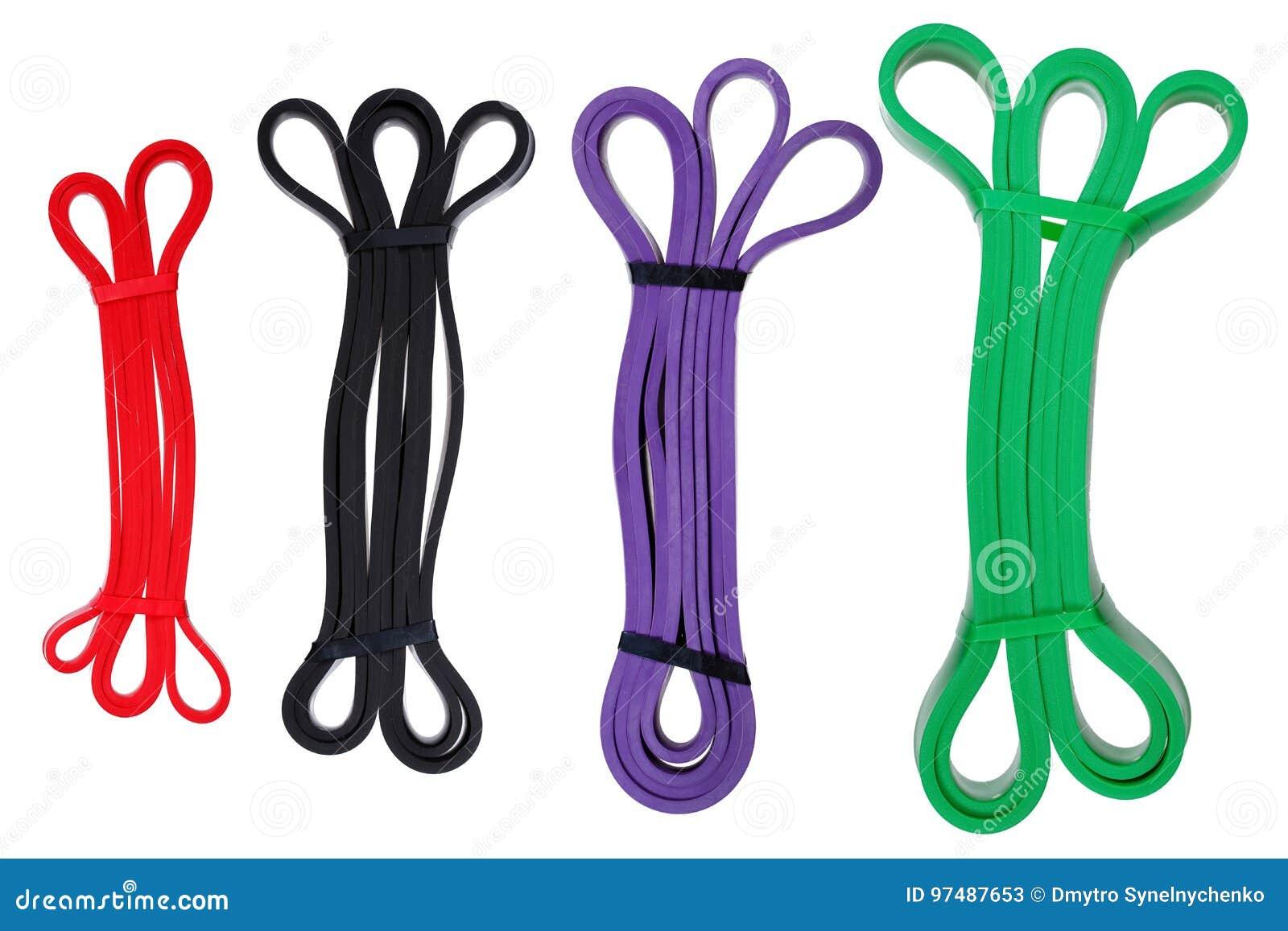 Insieme degli elastici torti per terapia fisica di forma fisica