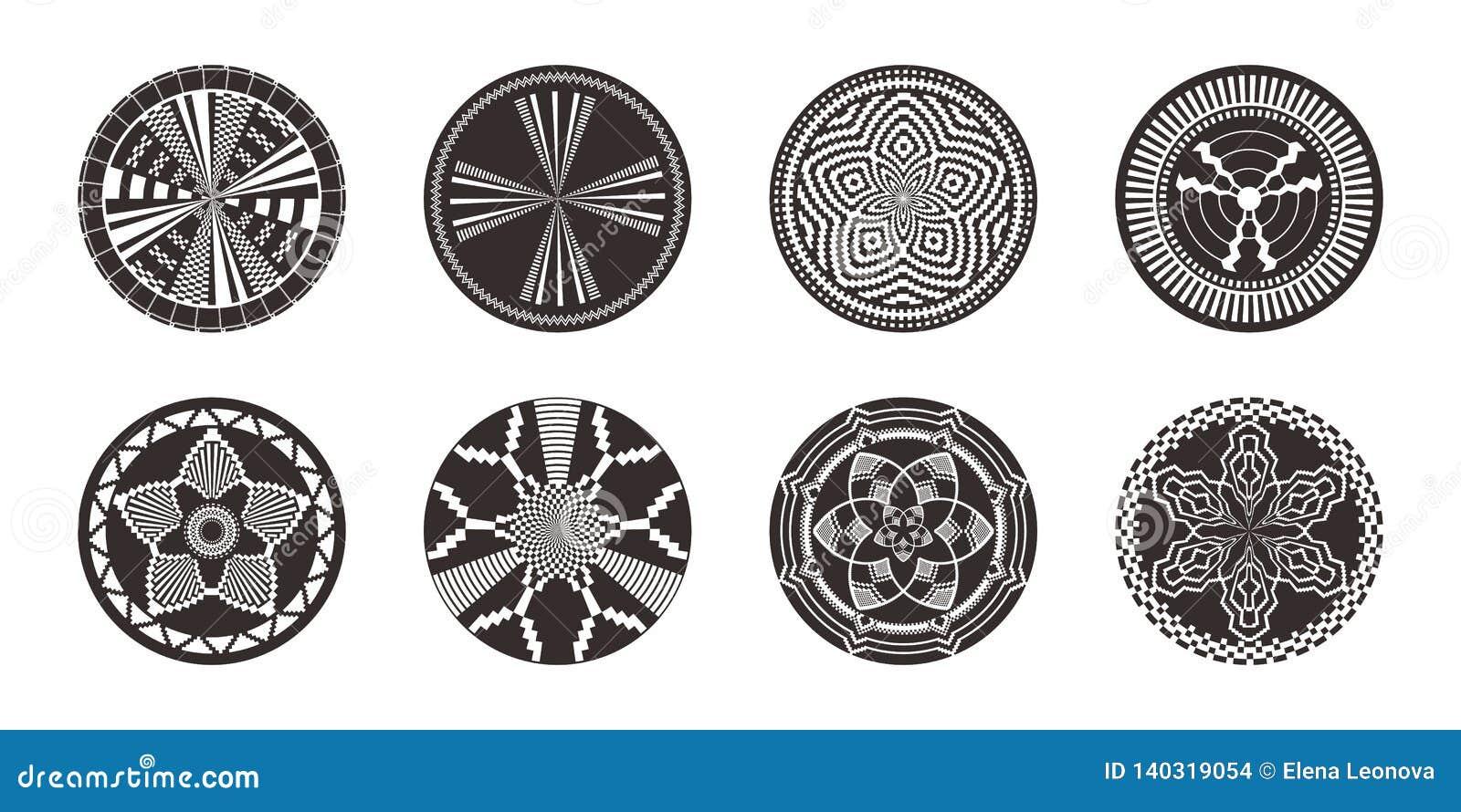 Insieme degli elementi decorativi africani Stampa tribale