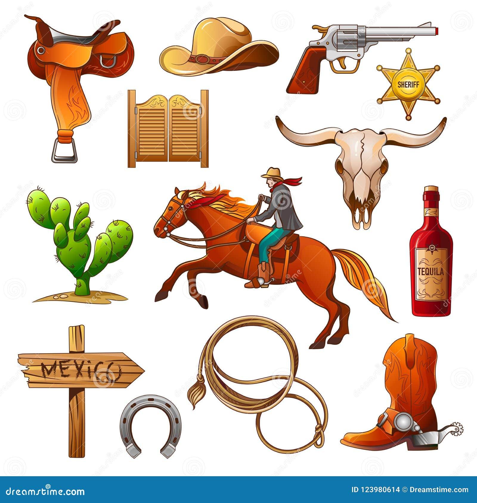 Insieme degli elementi dei selvaggi West l attrezzatura dei cowboy