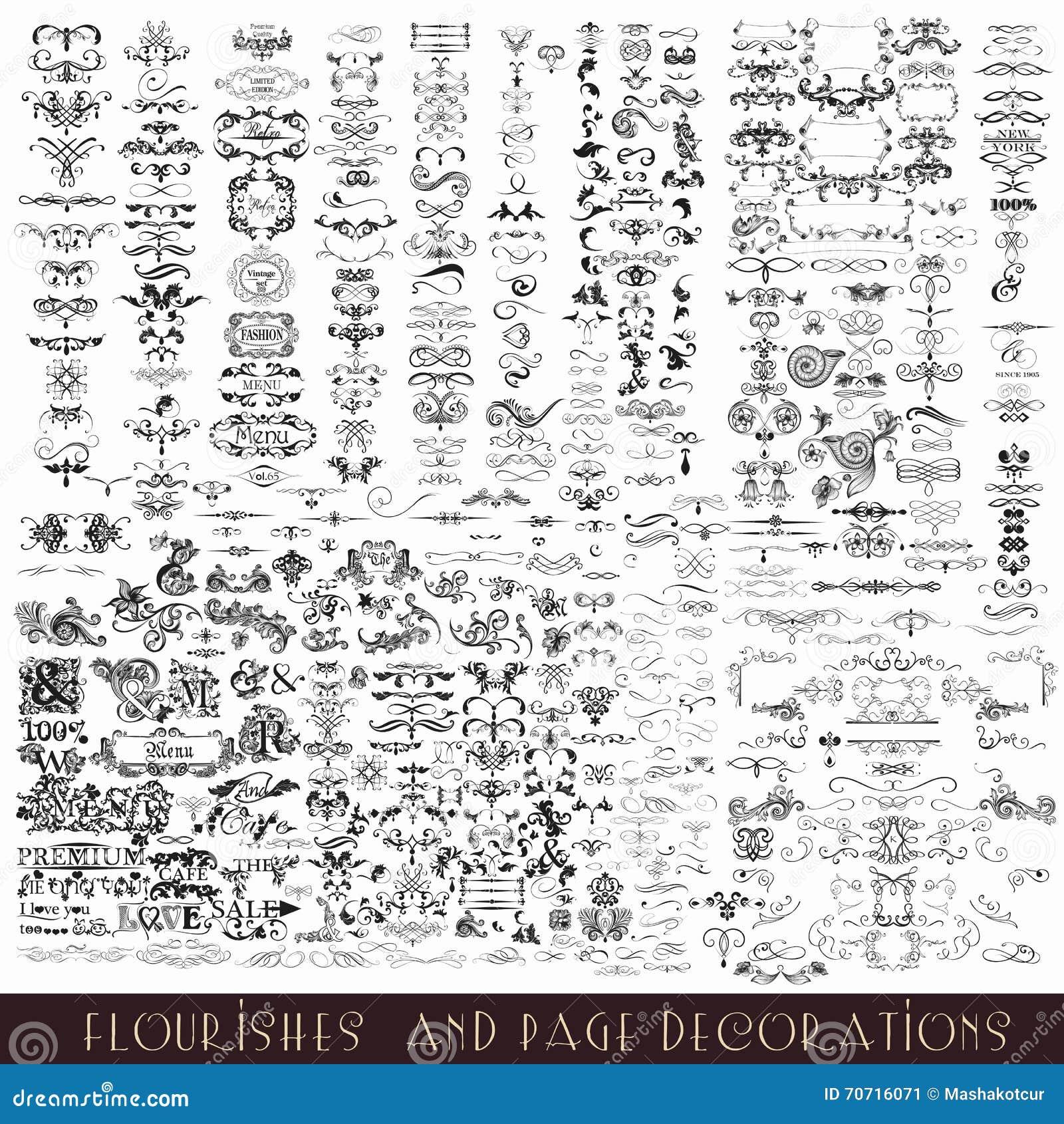 Insieme degli elementi di vettore e delle decorazioni calligrafici della pagina