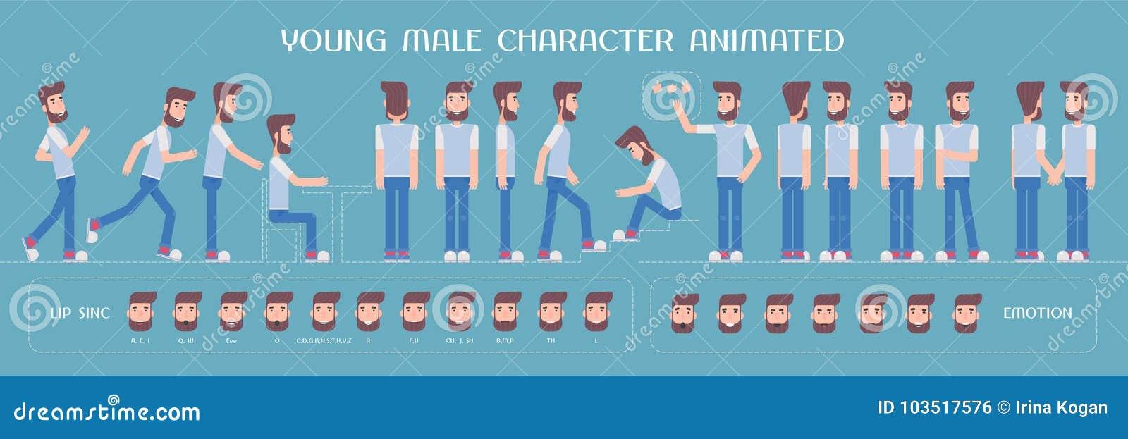 Insieme degli elementi di vettore per l uomo, la creazione del carattere del tipo e l animazione