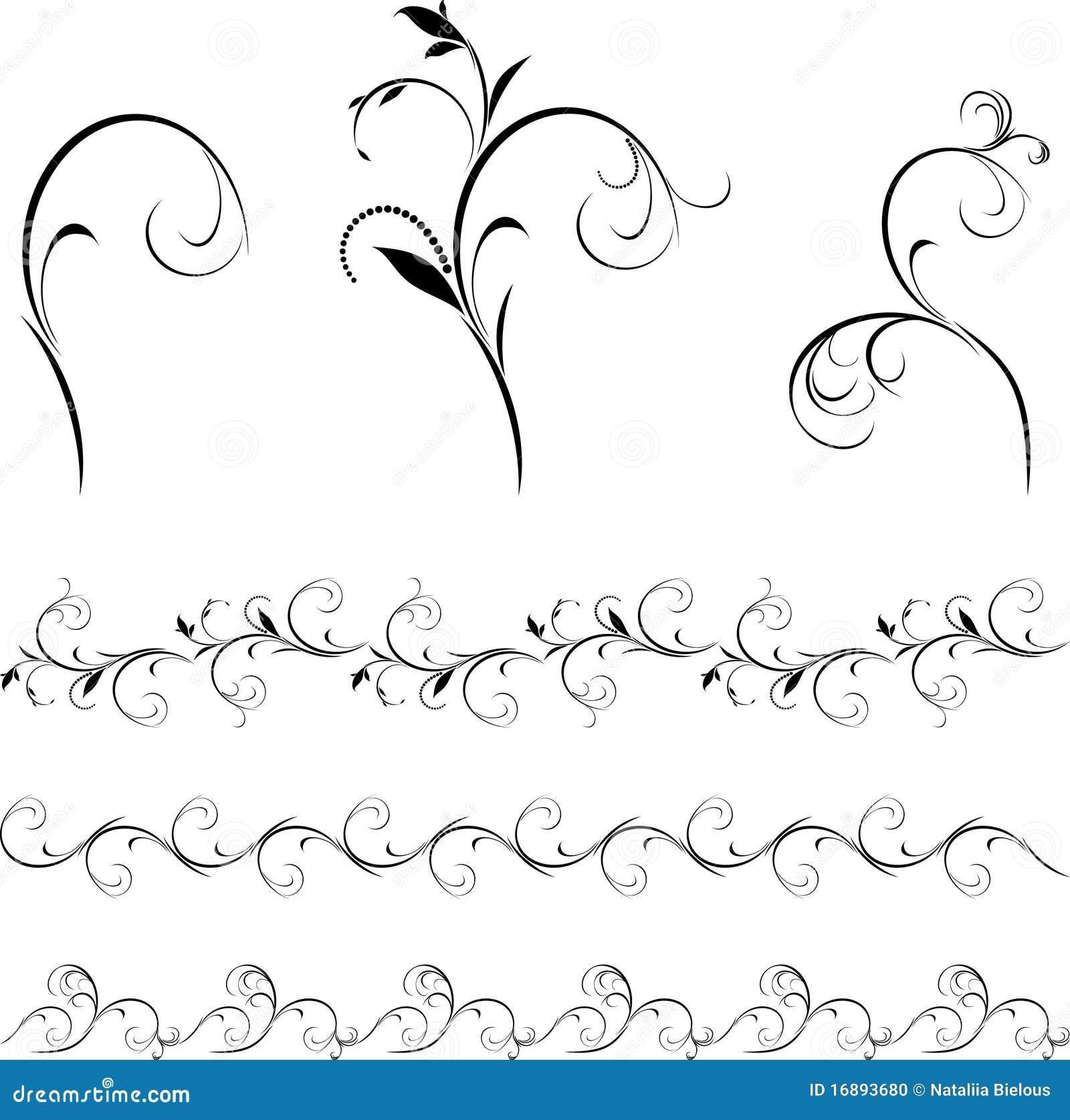 Insieme degli elementi e dei bordi floreali decorativi for Bordi decorativi