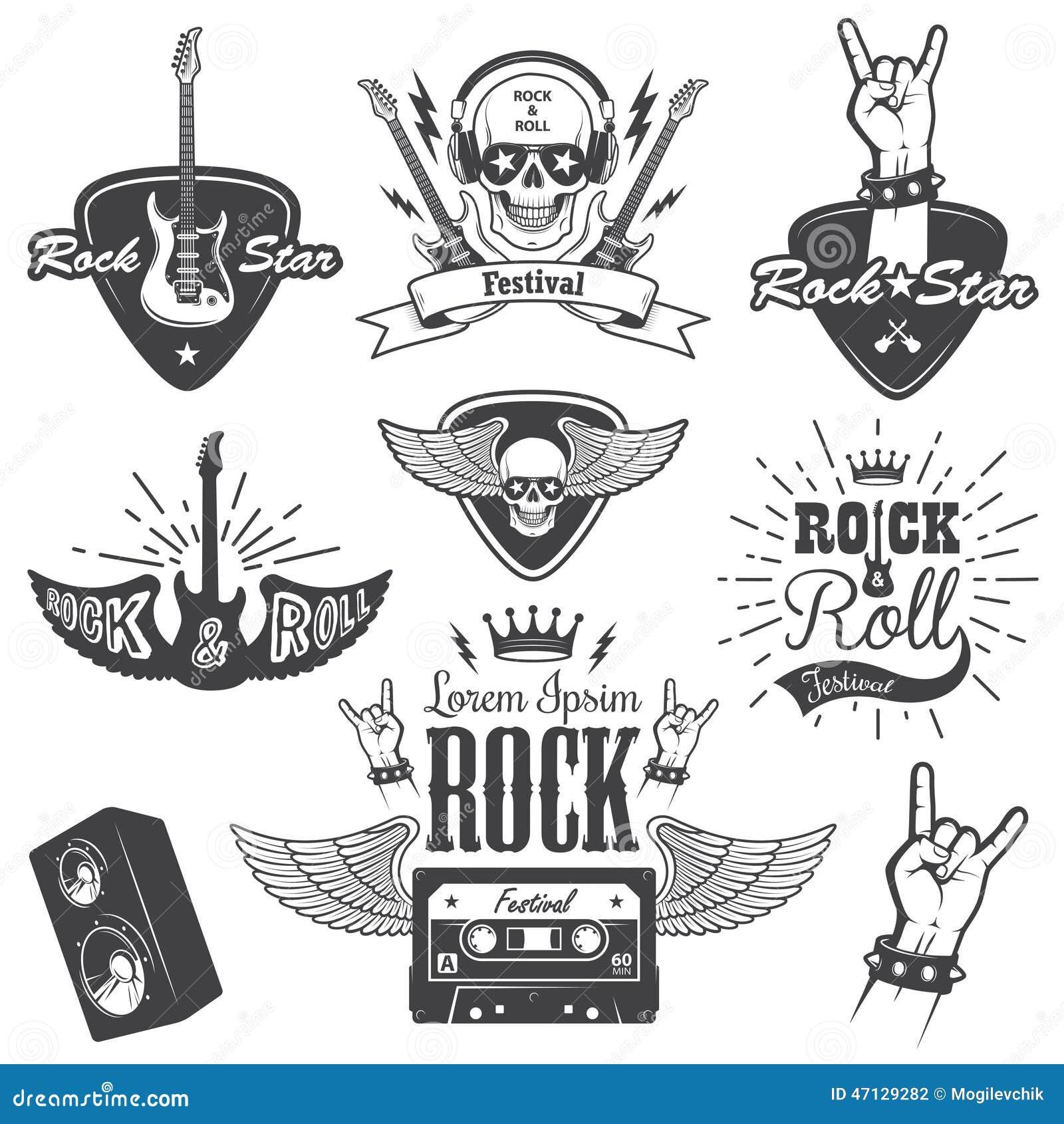 Insieme degli emblemi di musica di rock-and-roll