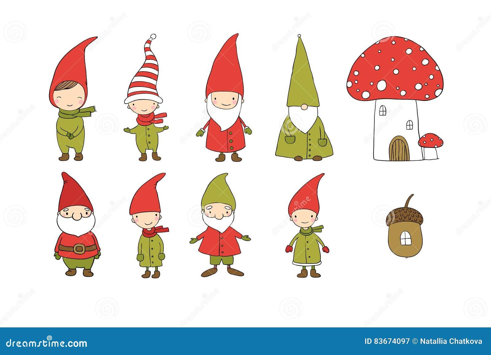 Insieme degli gnomi svegli del fumetto elfi divertenti for Insieme del programma della casa