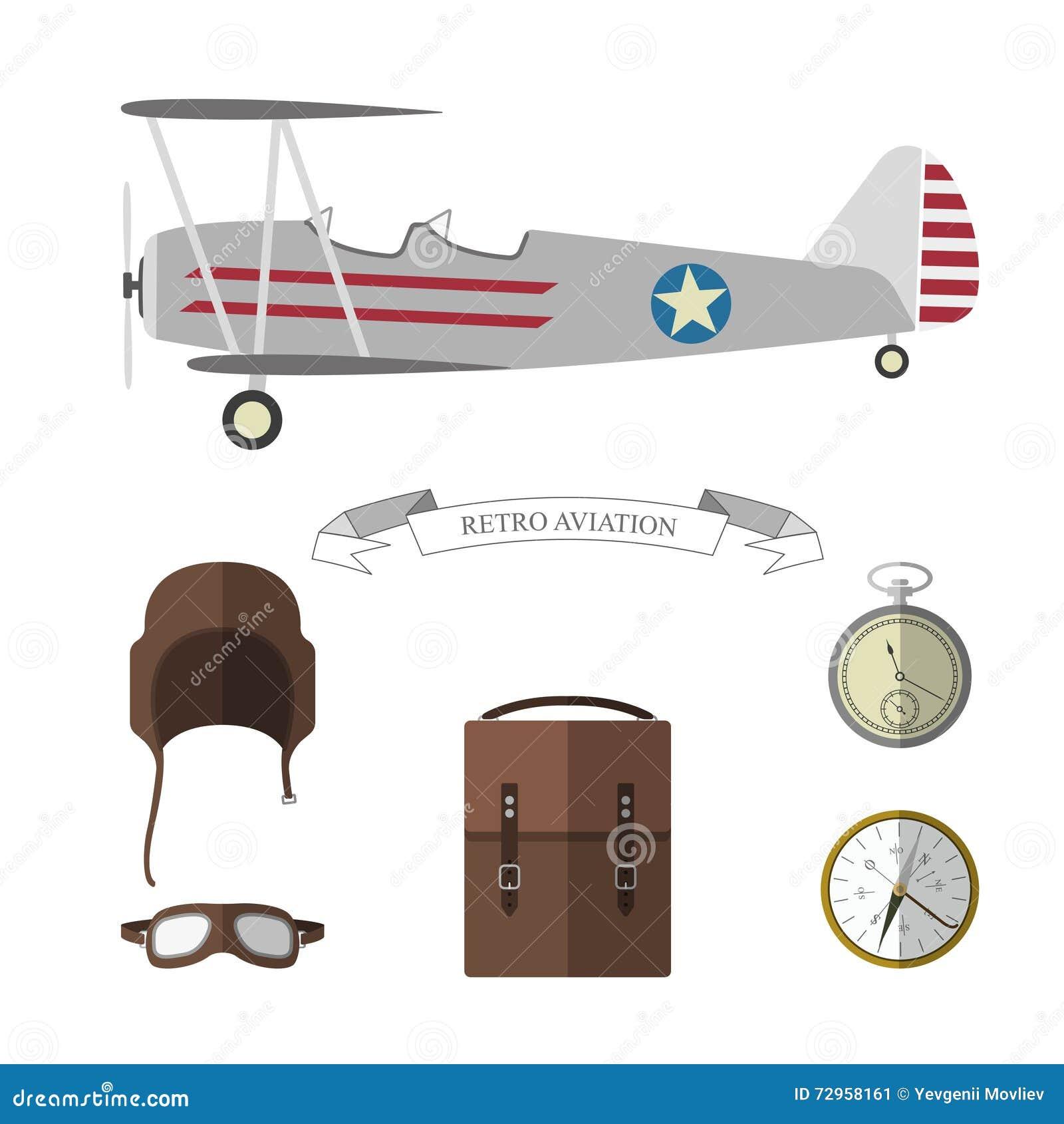Insieme degli oggetti pilota Retro raccolta degli oggetti di aviazione