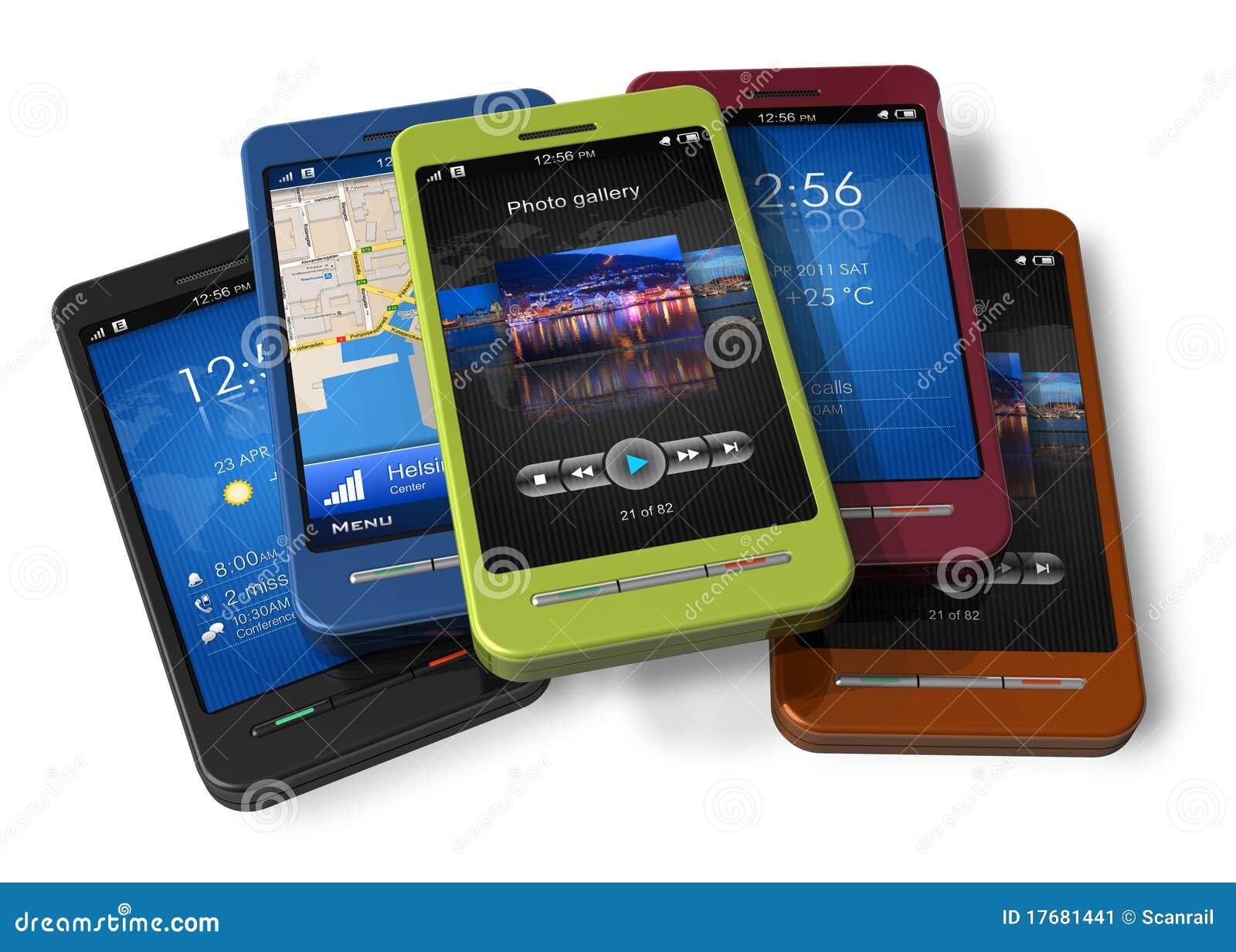 Insieme degli smartphones dello schermo attivabile al tatto