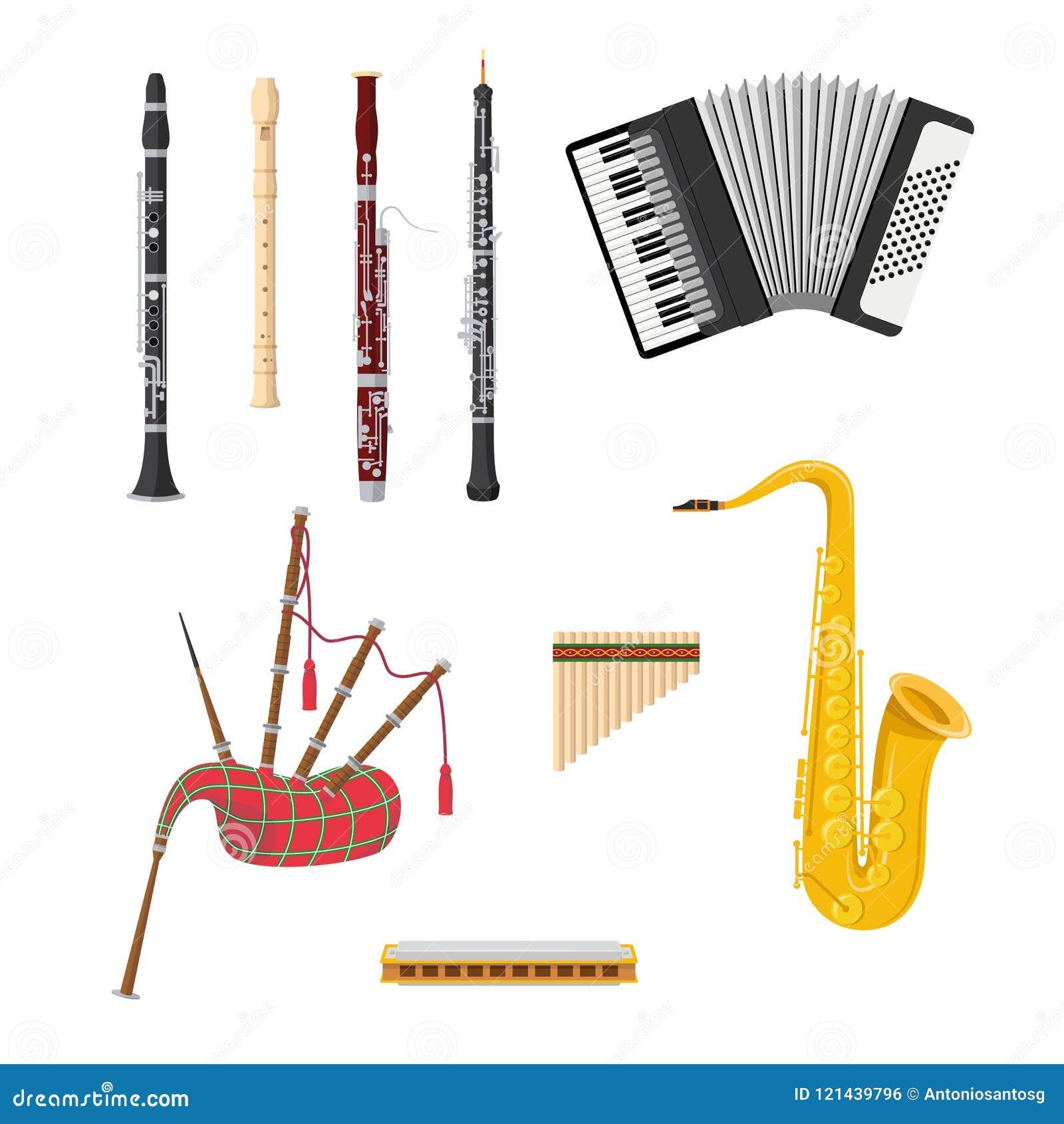 Insieme degli strumenti musicali degli strumenti a fiato nello stile del fumetto isolati su fondo bianco