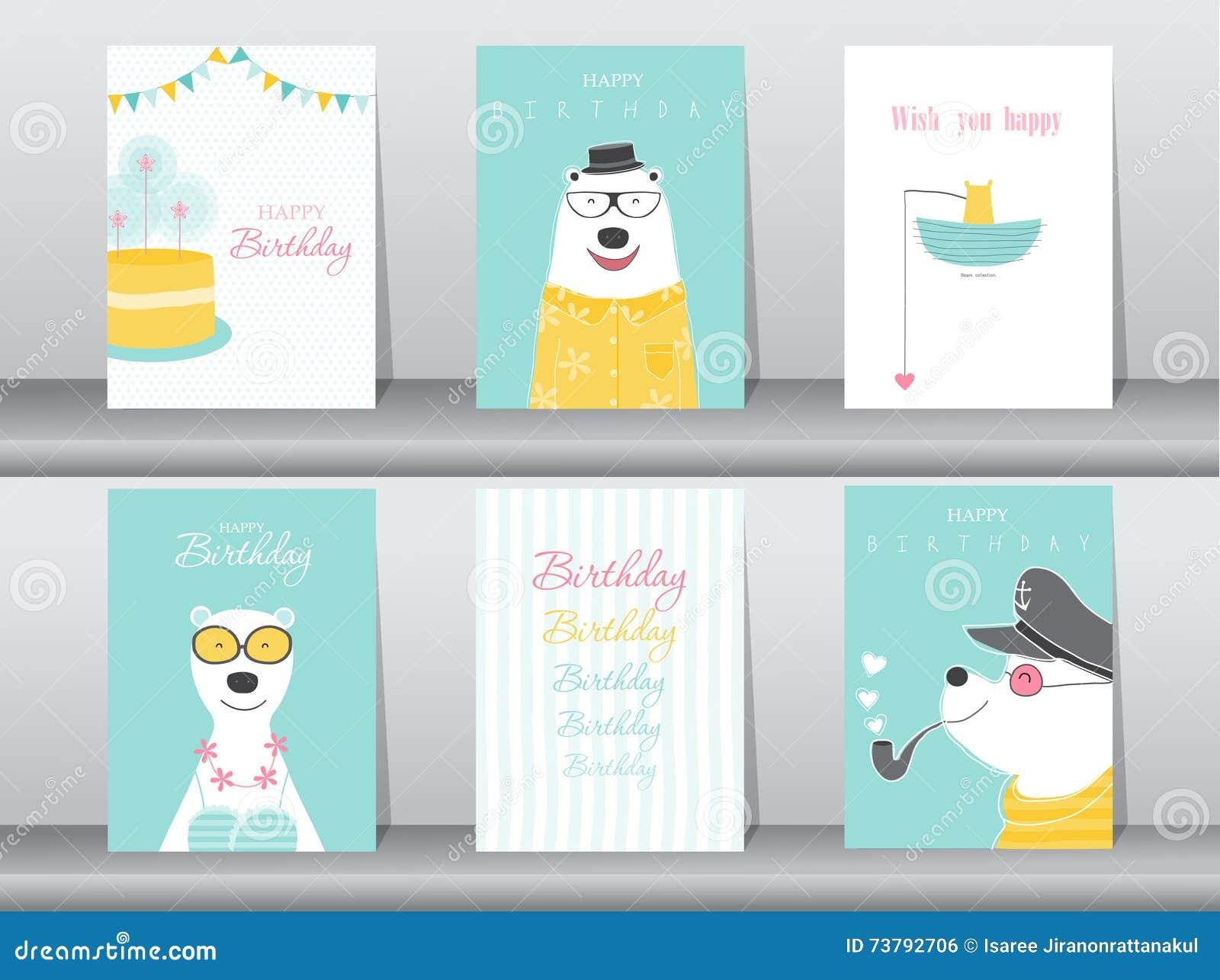 Insieme dei biglietti di auguri per il compleanno, manifesto, carte dell invito, modello, cartoline d auguri, animali, orsi, illu