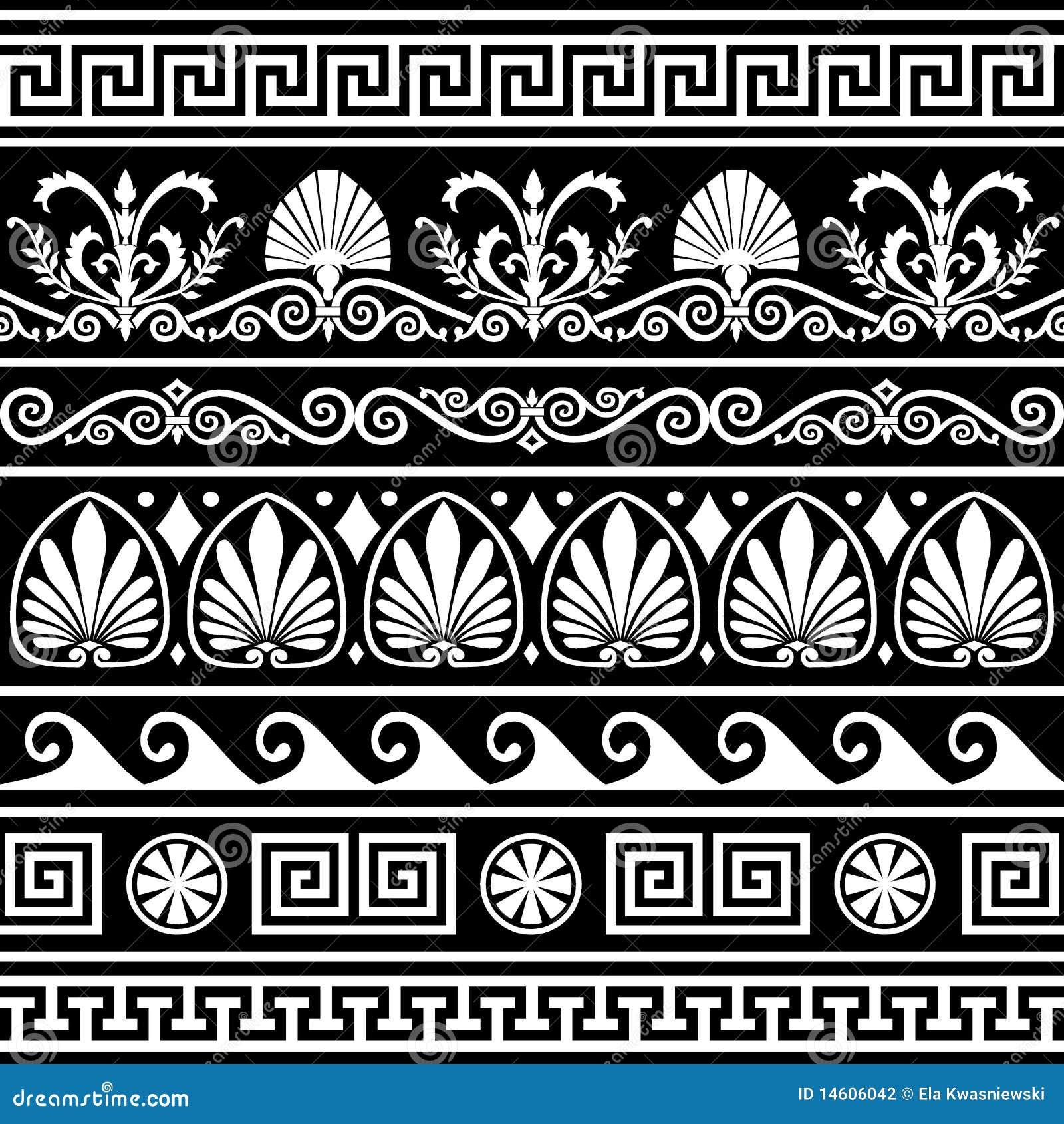 insieme dei bordi greci antichi sul nero illustrazione
