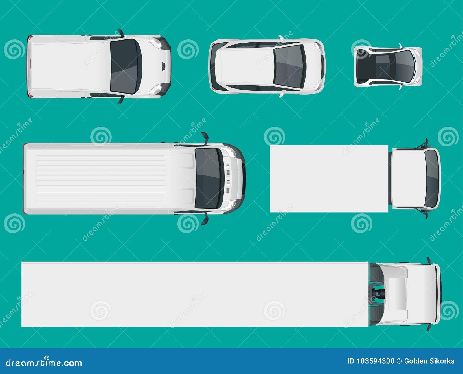 Insieme dei camion del carico Vista da sopra Vettori isolati Camion e Van del carico Illustrazione di vettore