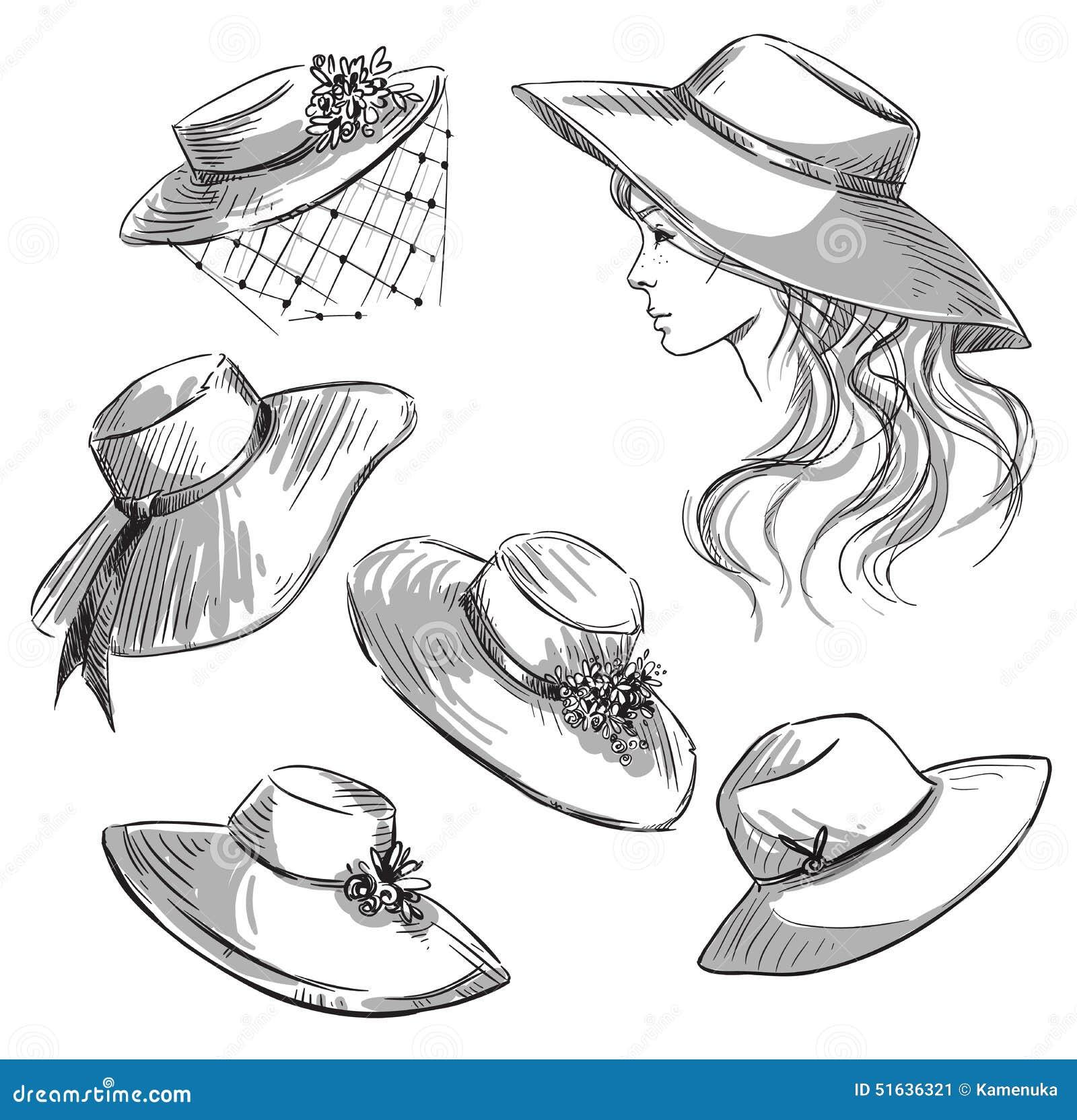 Insieme dei cappelli ragazza in un cappello illustrazione for Modo 10 prezzi