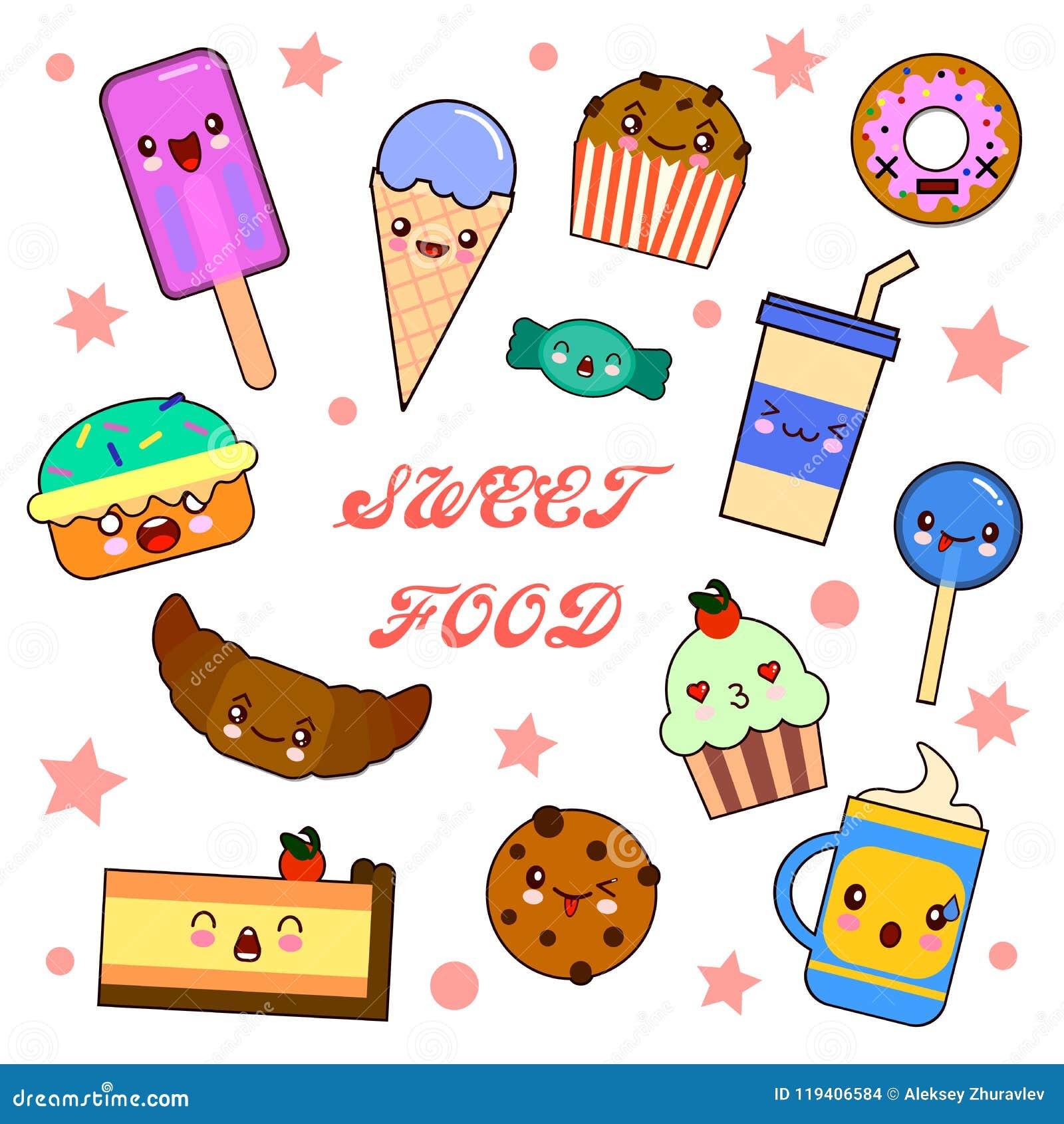 Insieme dei caratteri divertenti del dessert - ciambella, croissant, bigné, dolce, maccherone, illustrazione di vettore di stile