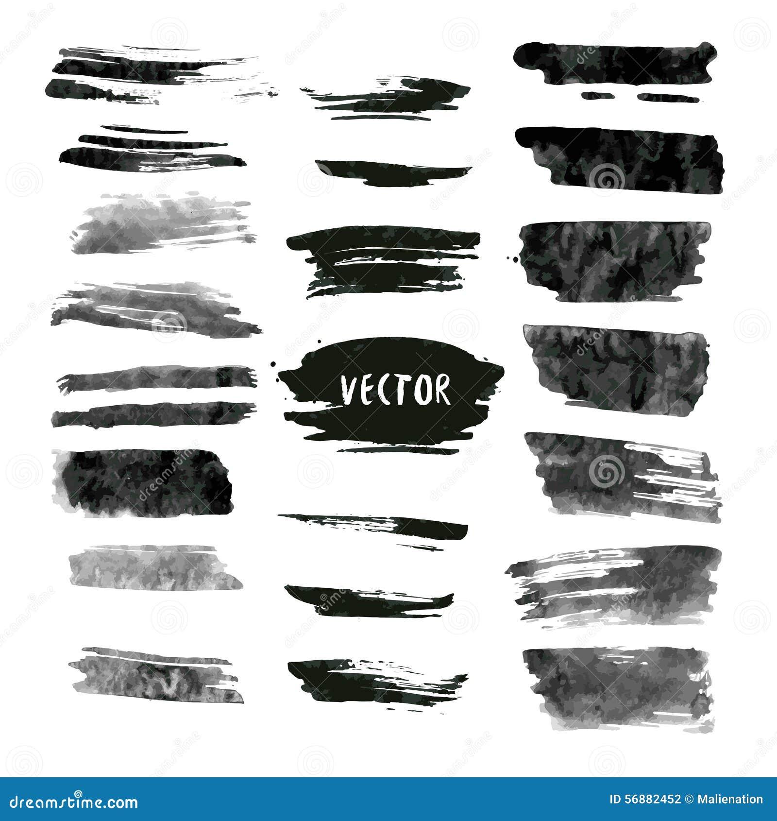 Insieme dei colpi di vettore e dell inchiostro di lerciume Raccolta astratta degli elementi di progettazione Sbavature disegnate