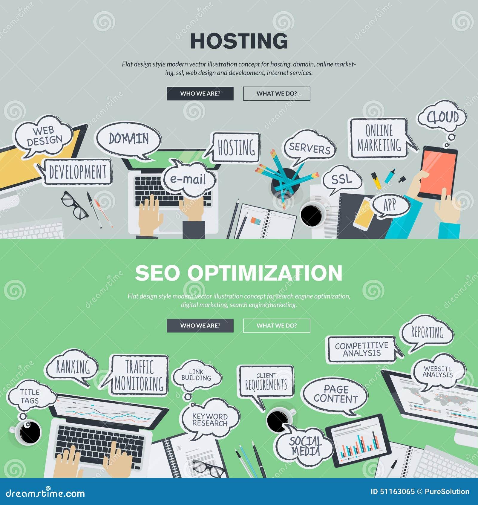 Insieme dei concetti piani dell illustrazione di progettazione per l ospitalità e SEO