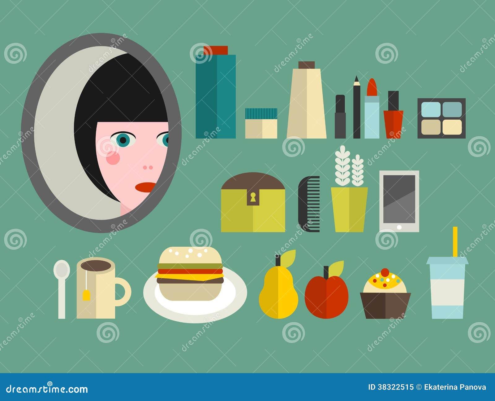 Insieme dei cosmetici e dell alimento per la ragazza.