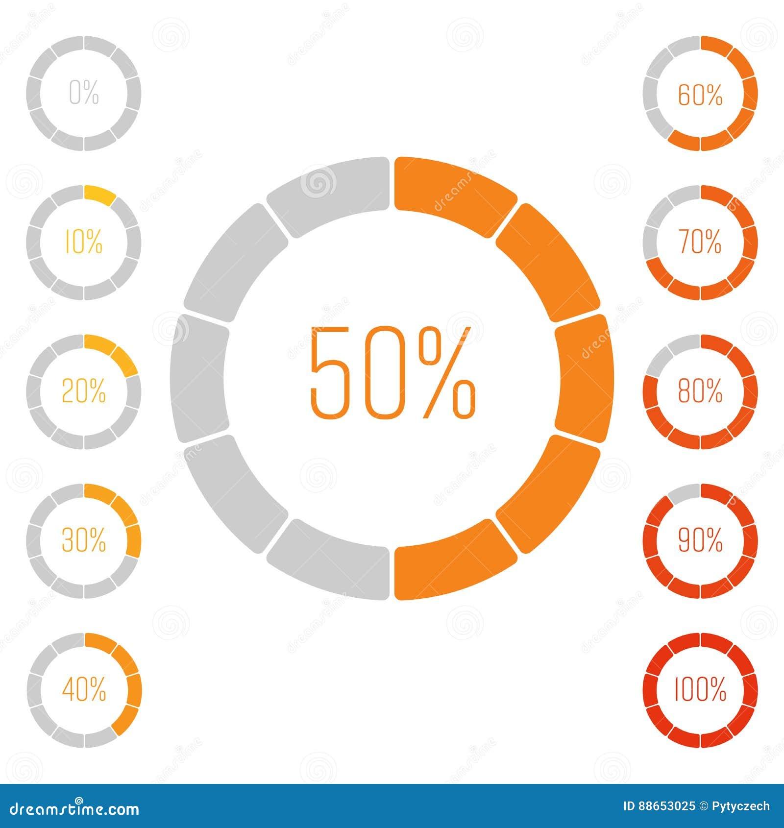 Insieme Dei Diagrammi A Torta Dell'anello Con Valore Di Percentuale Analisi Del Rendimento In Percento Infographic Grigio-arancio Illustrazione Vettoriale - Illustrazione di illustrazione, vendita: 88653025