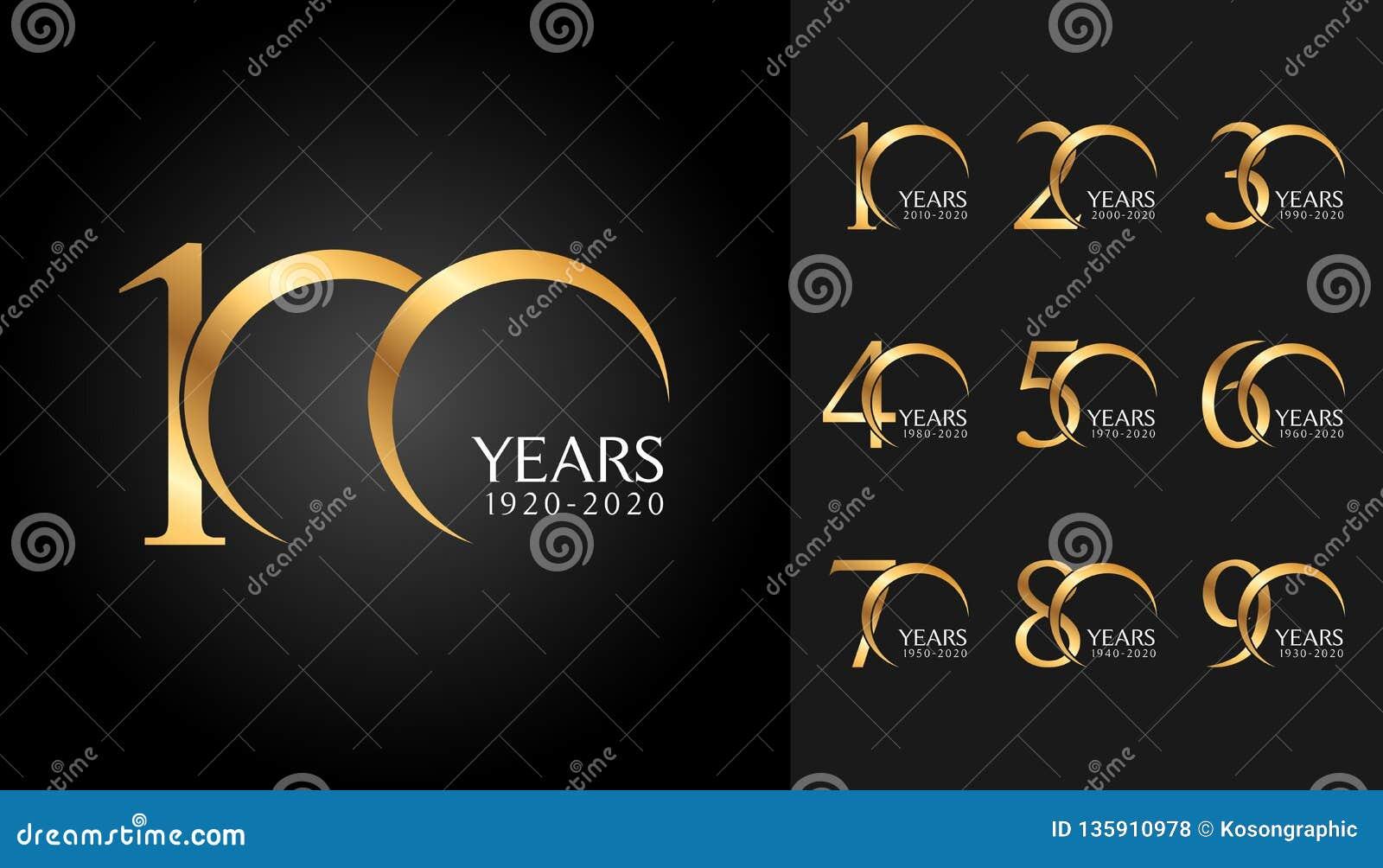 Insieme dei distintivi di anniversario Progettazione dorata dell emblema di celebrazione di anniversario per il profilo aziendale