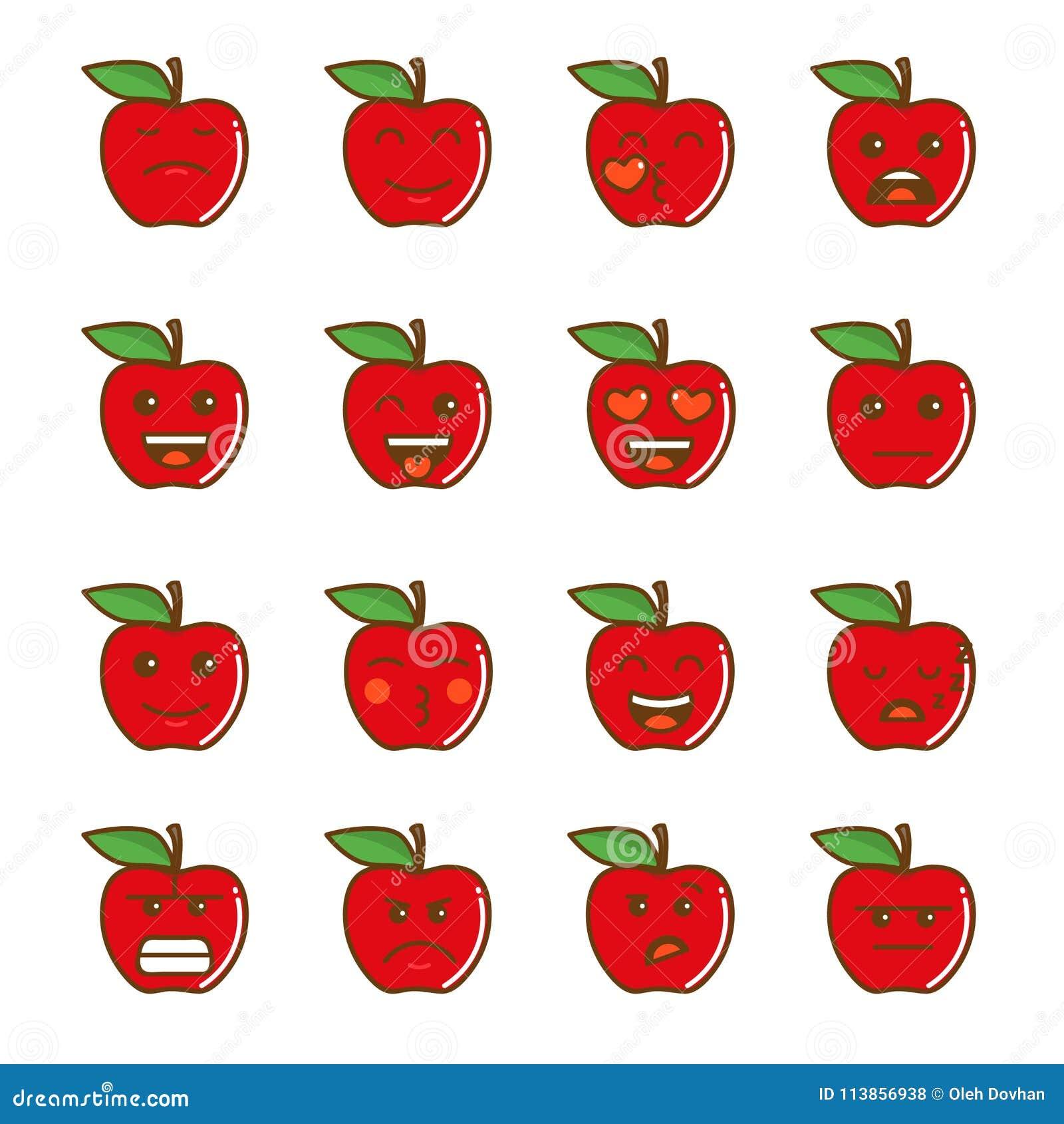 Insieme dei emoticons Insieme di Emoji Icone della mela di sorriso Illustrazione isolata su fondo bianco