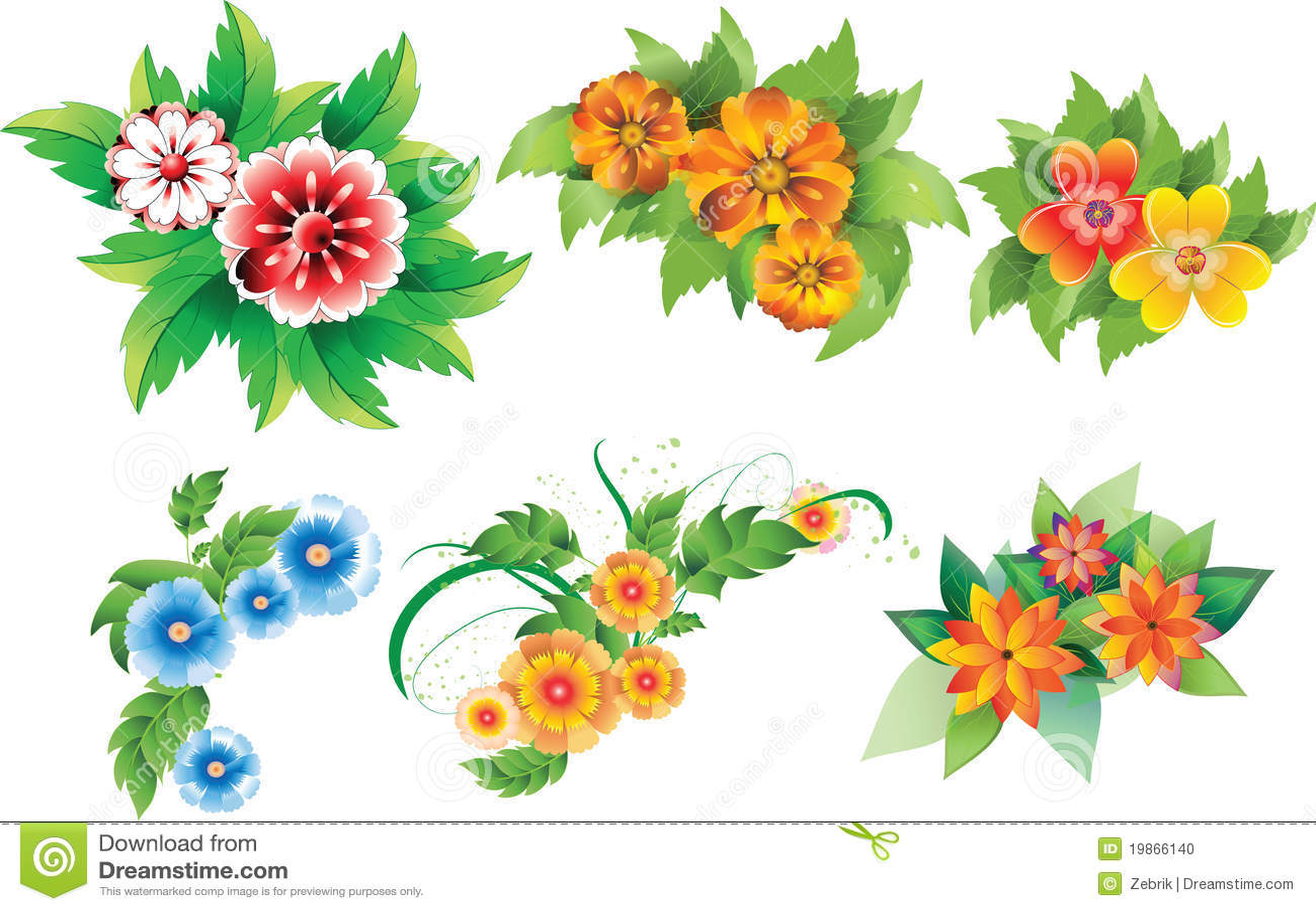 Insieme dei fiori colorati illustrazione vettoriale for Fiori stilizzati colorati