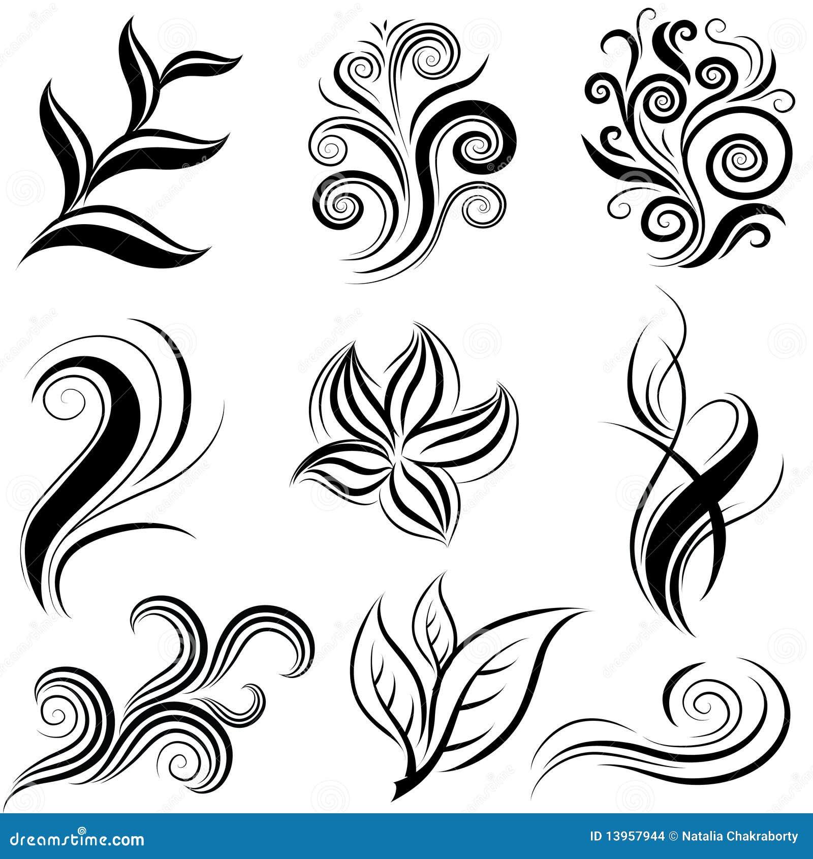 Disegni Piante Erbacee : Insieme dei fogli e degli elementi di disegno piante