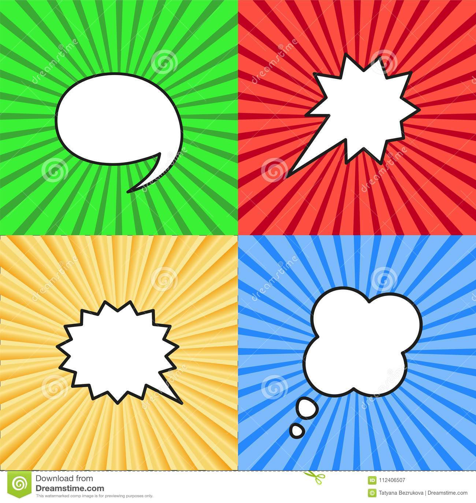 Insieme dei fumetti in bianco nello stile di Pop art