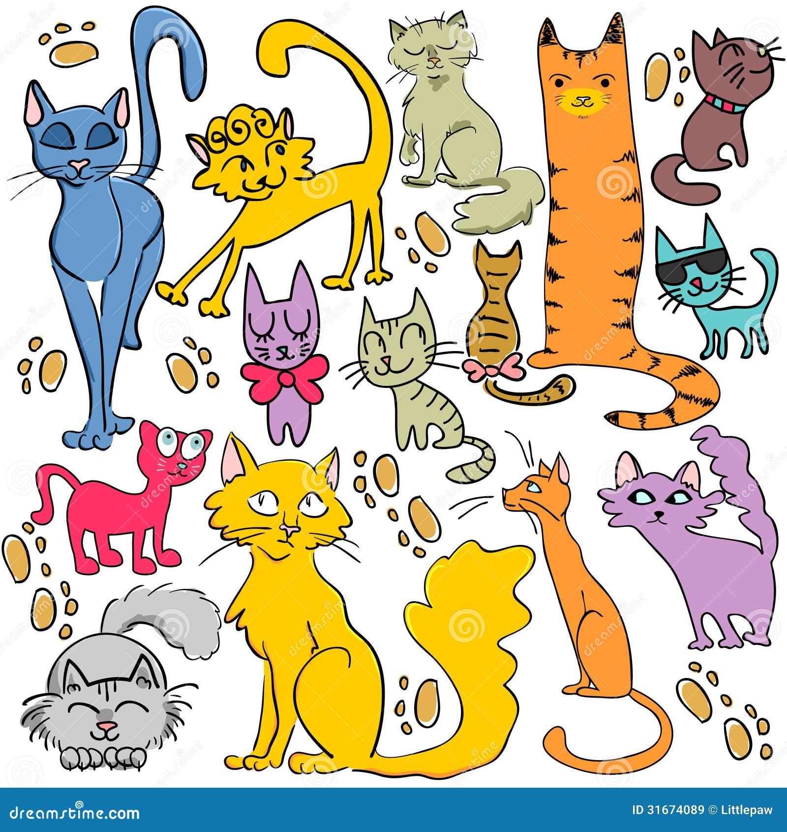 Insieme dei gatti disegnati a mano illustrazione for Immagini teschi disegnati