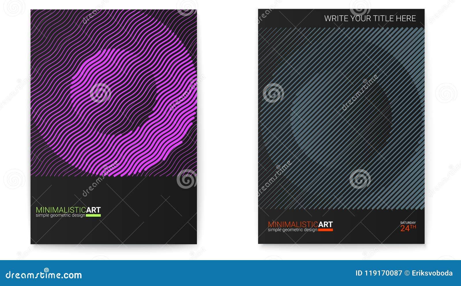 Insieme dei manifesti con forma semplice nello stile di bauhaus Progettazione della copertura con arte geometrica moderna Arte di