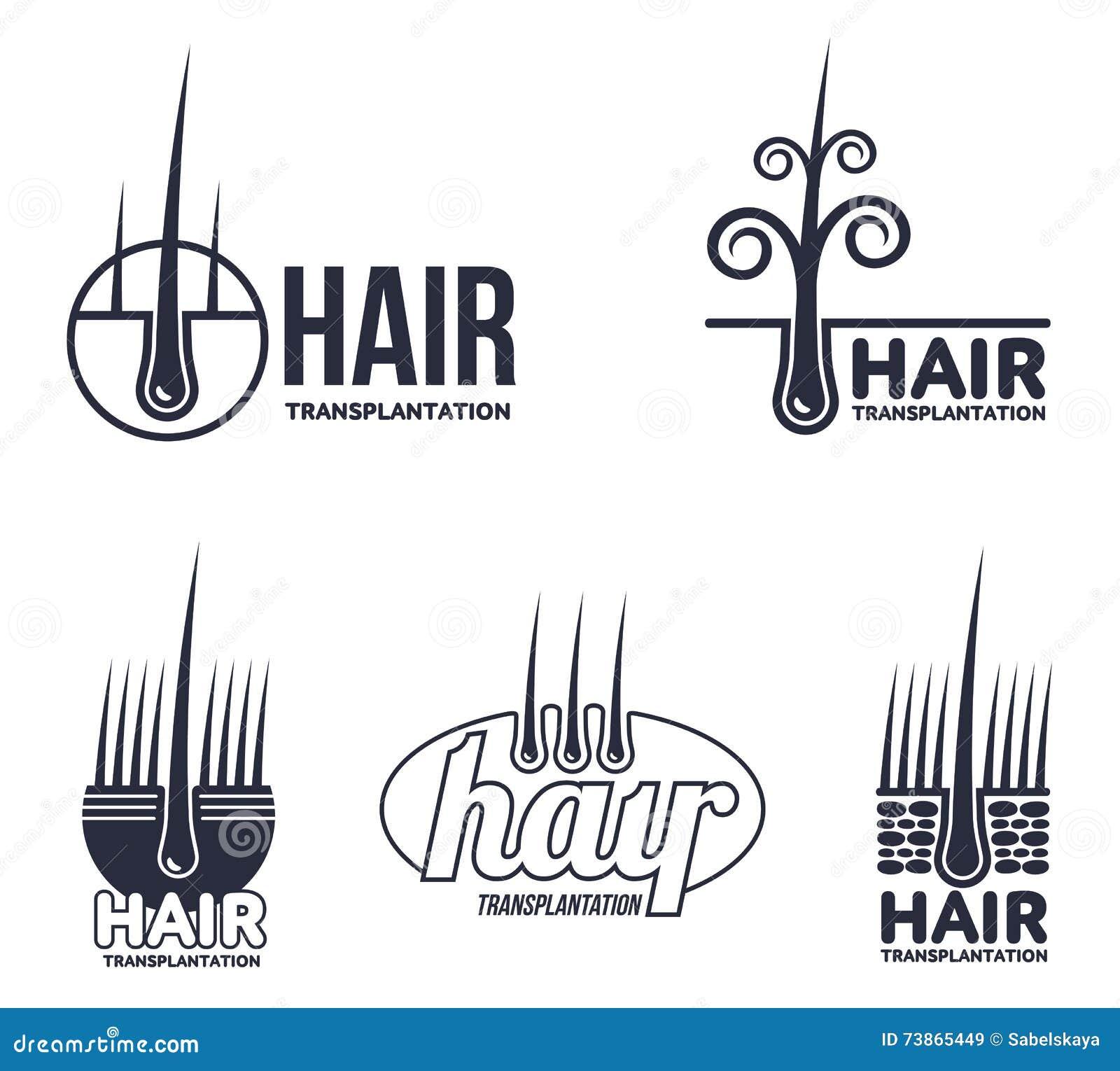 Insieme Dei Modelli Di Logo Di Trapianto Dei Capelli Illustrazione