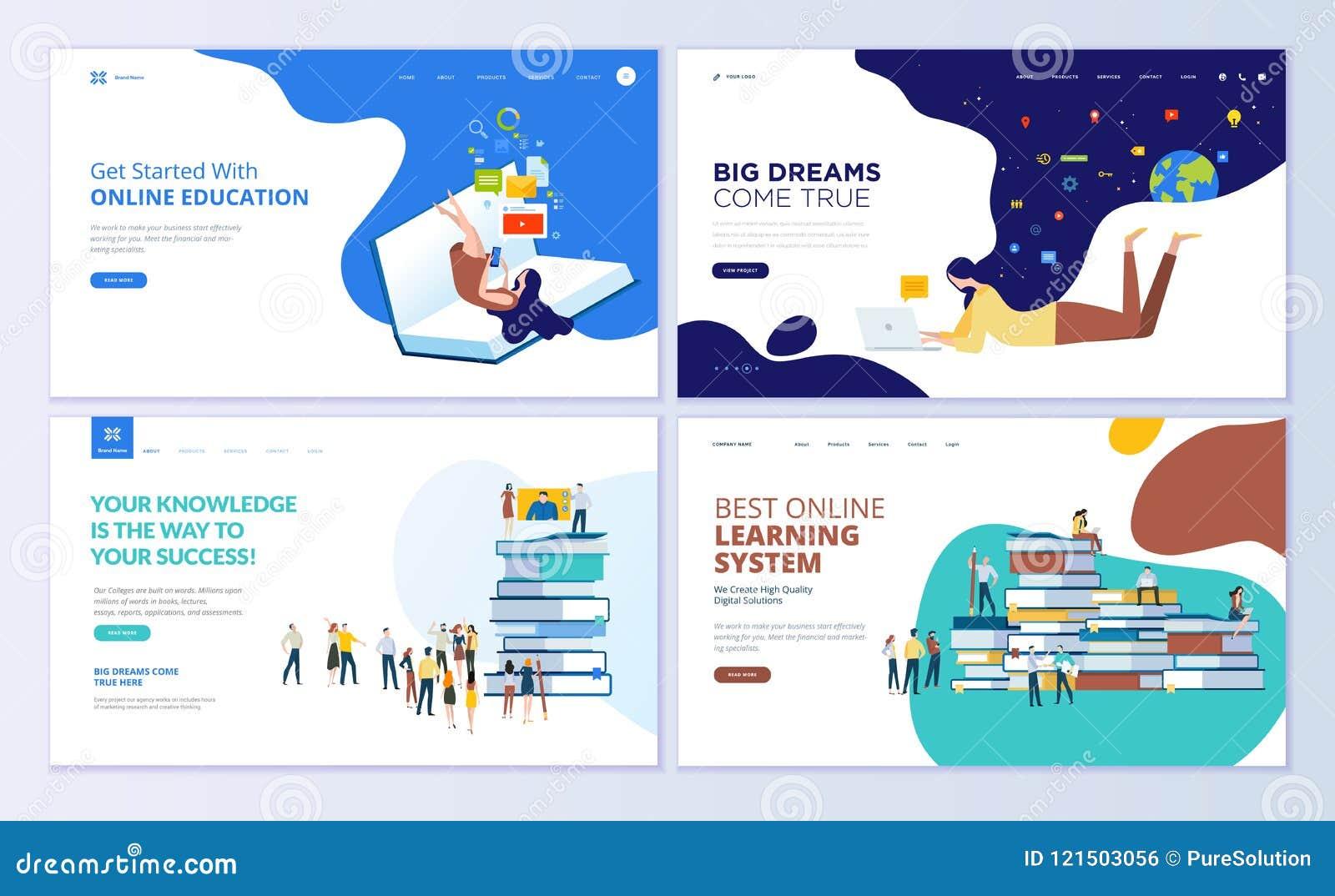 Insieme dei modelli di progettazione della pagina Web per istruzione, formazione ed i corsi online, imparando, video esercitazion