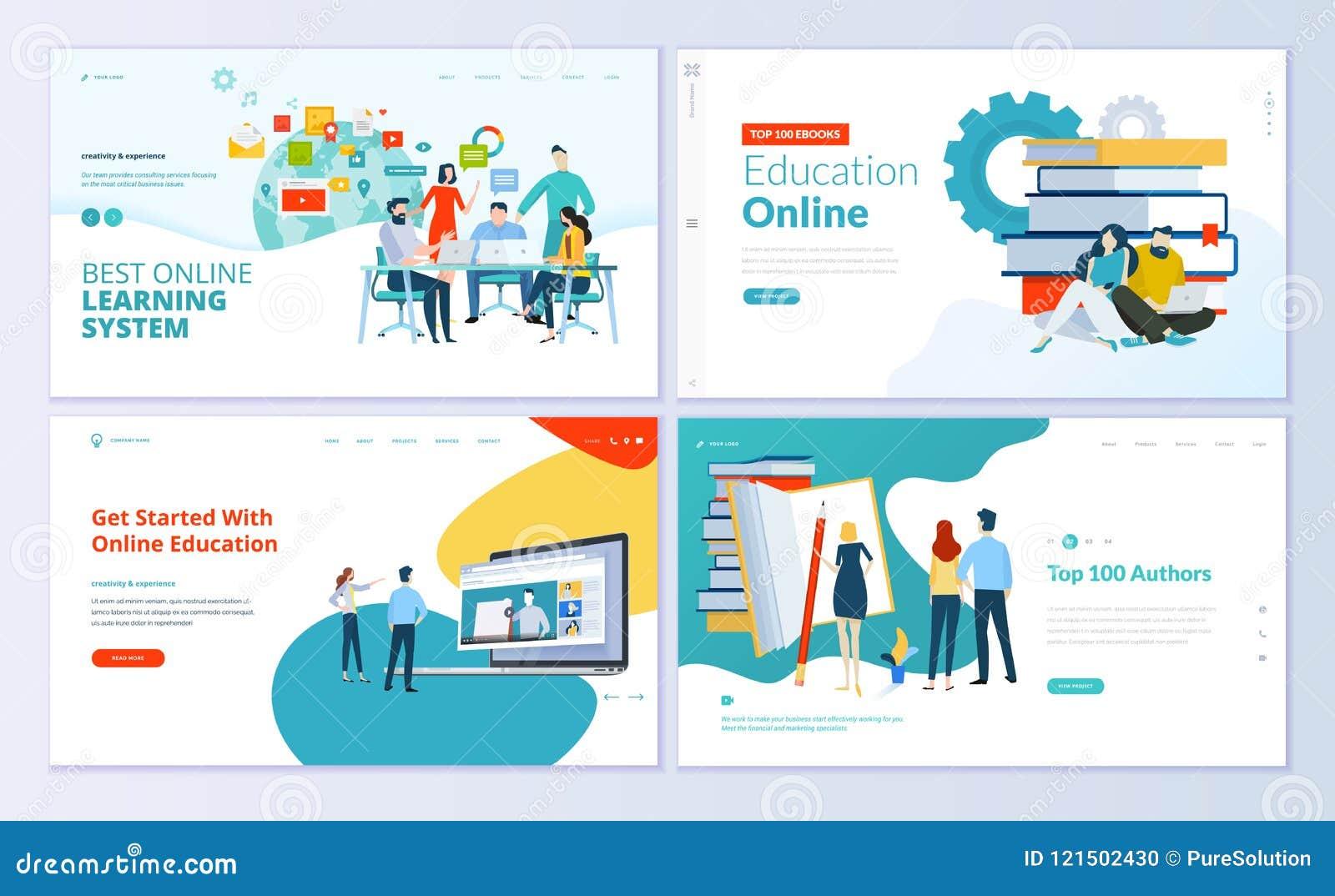 Insieme dei modelli di progettazione della pagina Web per l e-learning, istruzione online, libro elettronico