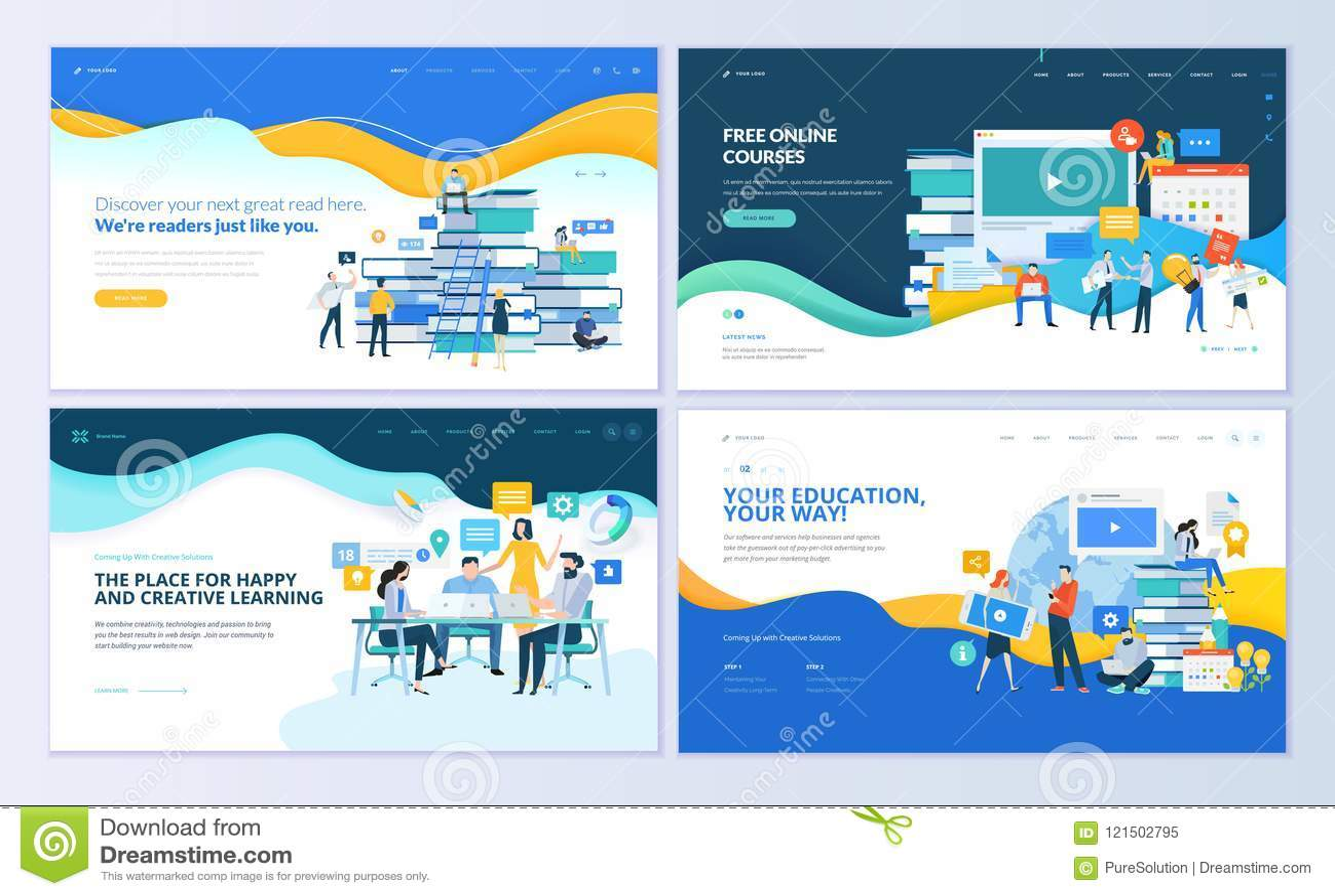 Insieme dei modelli per istruzione a distanza, corsi online, e-learning, esercitazioni di progettazione della pagina Web