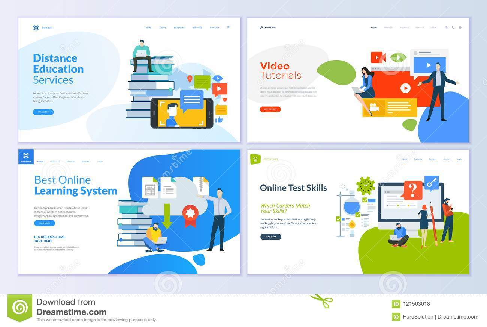 Insieme dei modelli per istruzione a distanza, video esercitazioni, e-learning, abilità di progettazione della pagina Web del tes
